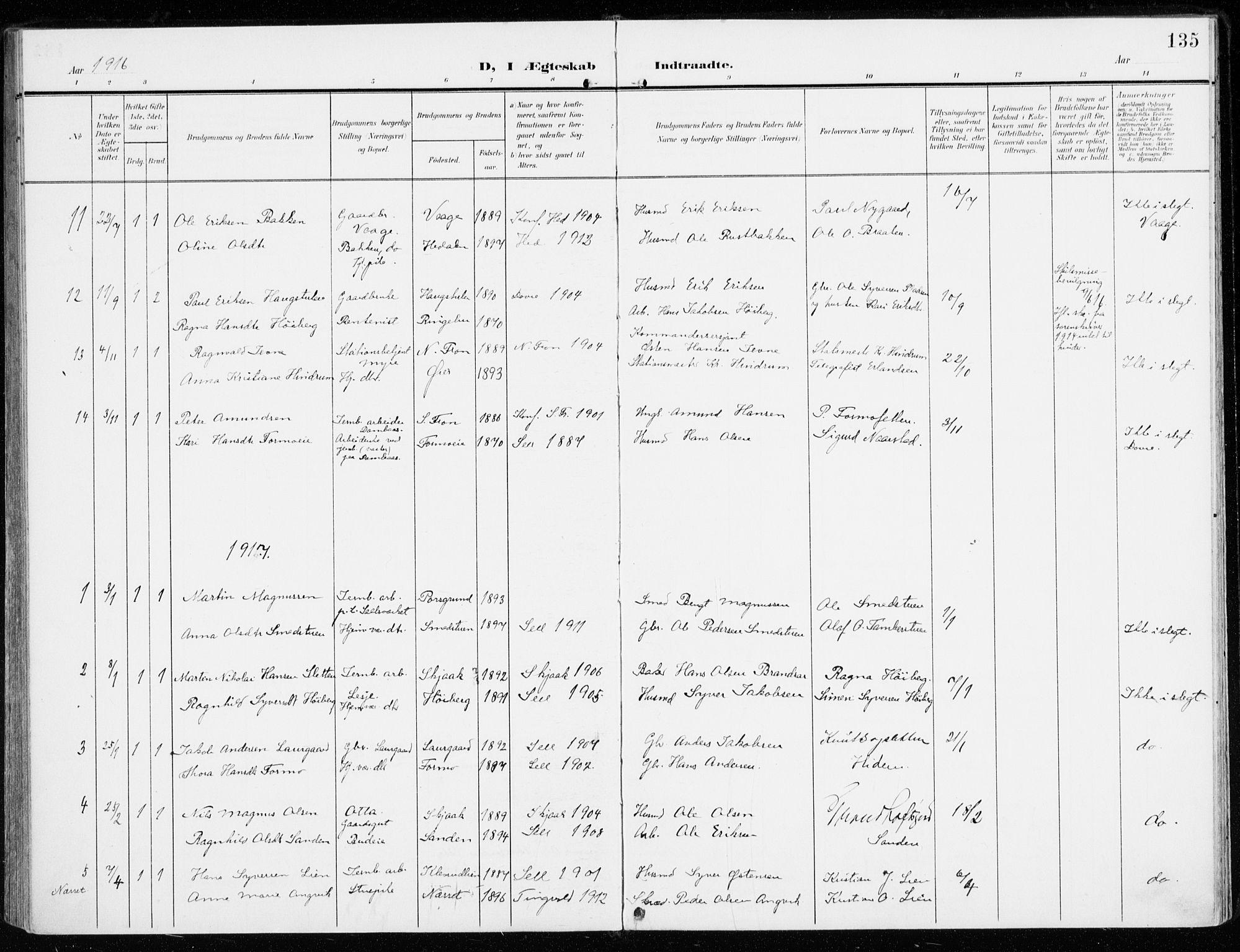 SAH, Sel prestekontor, Ministerialbok nr. 2, 1905-1919, s. 135