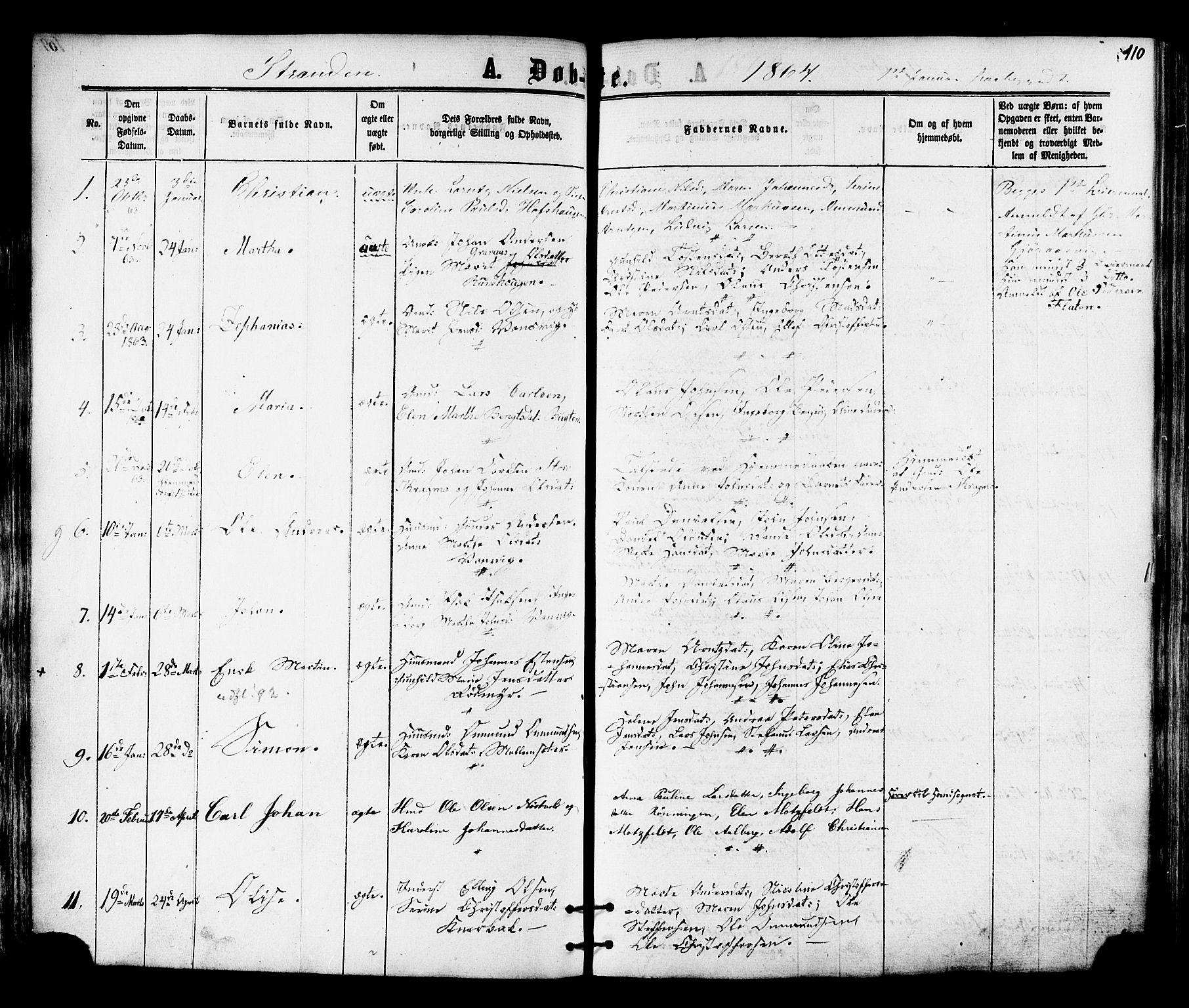 SAT, Ministerialprotokoller, klokkerbøker og fødselsregistre - Nord-Trøndelag, 701/L0009: Ministerialbok nr. 701A09 /2, 1864-1882, s. 110