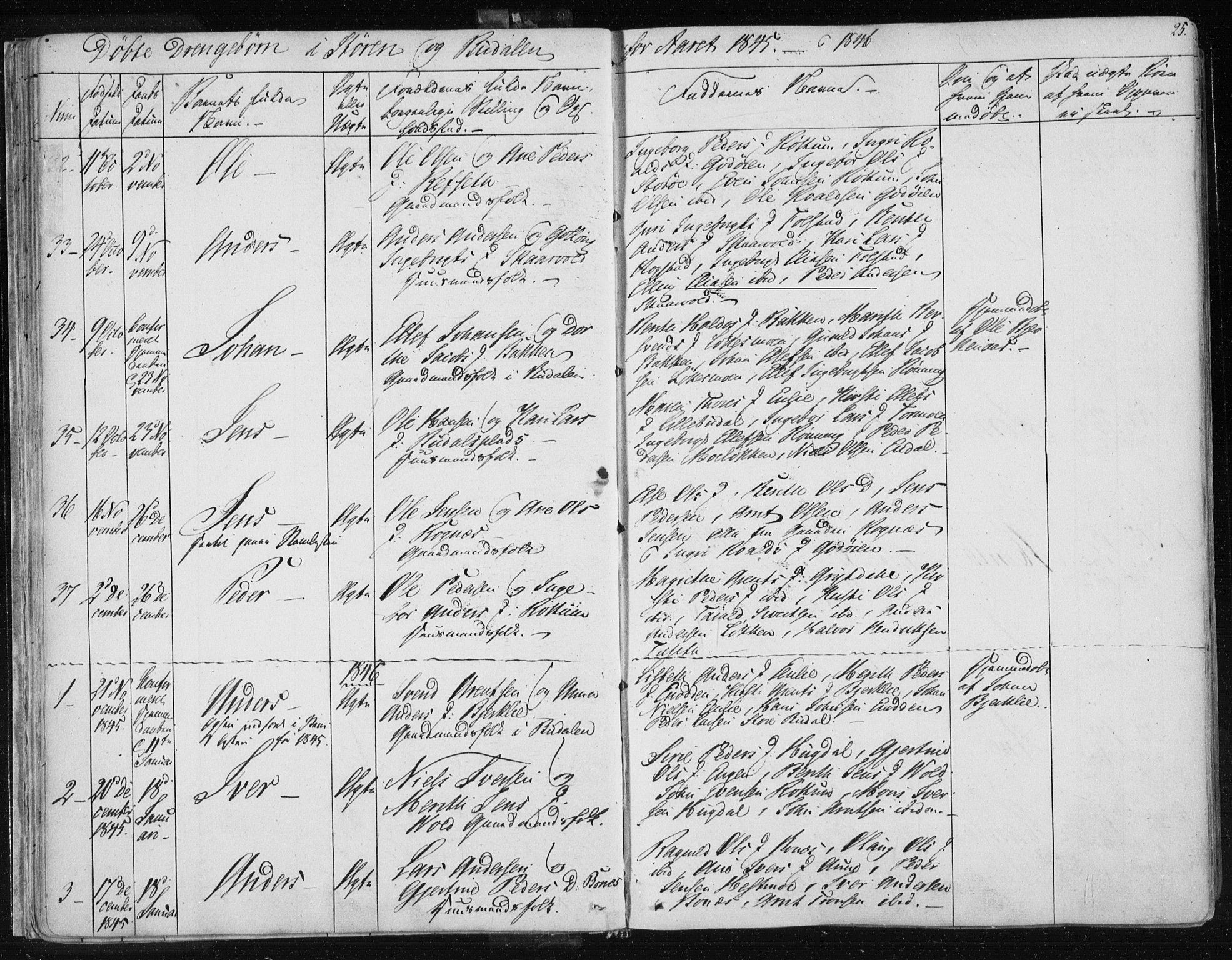 SAT, Ministerialprotokoller, klokkerbøker og fødselsregistre - Sør-Trøndelag, 687/L0997: Ministerialbok nr. 687A05 /1, 1843-1848, s. 25