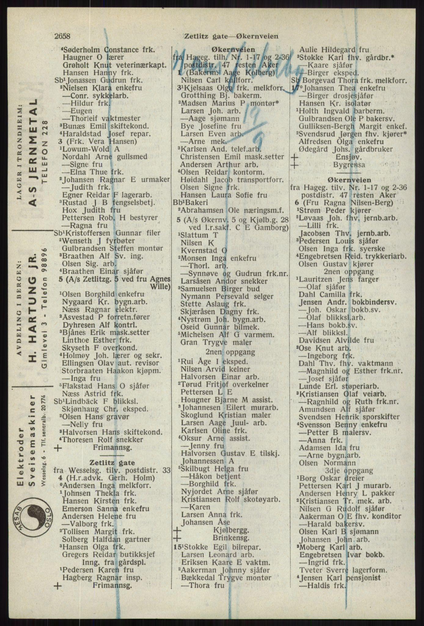 RA, Oslo adressebok (publikasjon)*, 1941, s. 2658