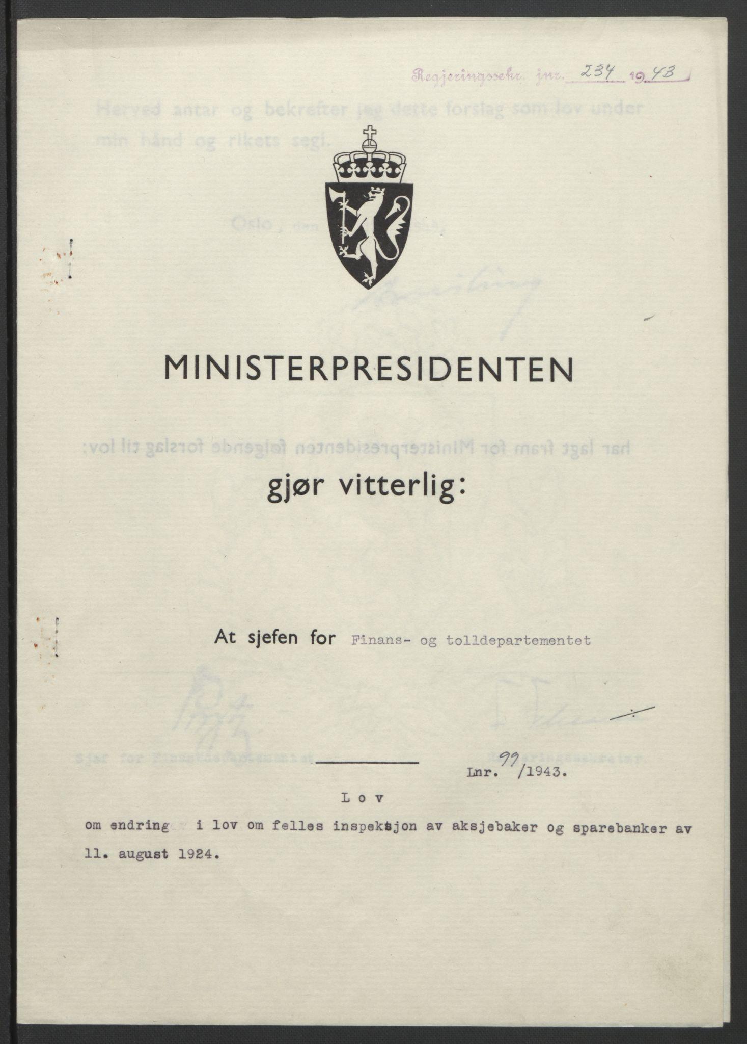 RA, NS-administrasjonen 1940-1945 (Statsrådsekretariatet, de kommisariske statsråder mm), D/Db/L0099: Lover, 1943, s. 452