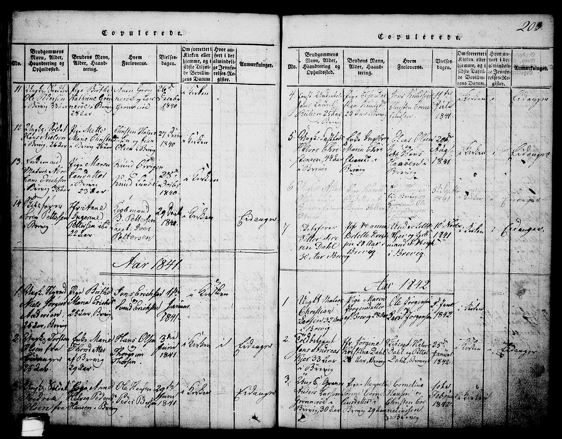 SAKO, Brevik kirkebøker, G/Ga/L0001: Klokkerbok nr. 1, 1814-1845, s. 203