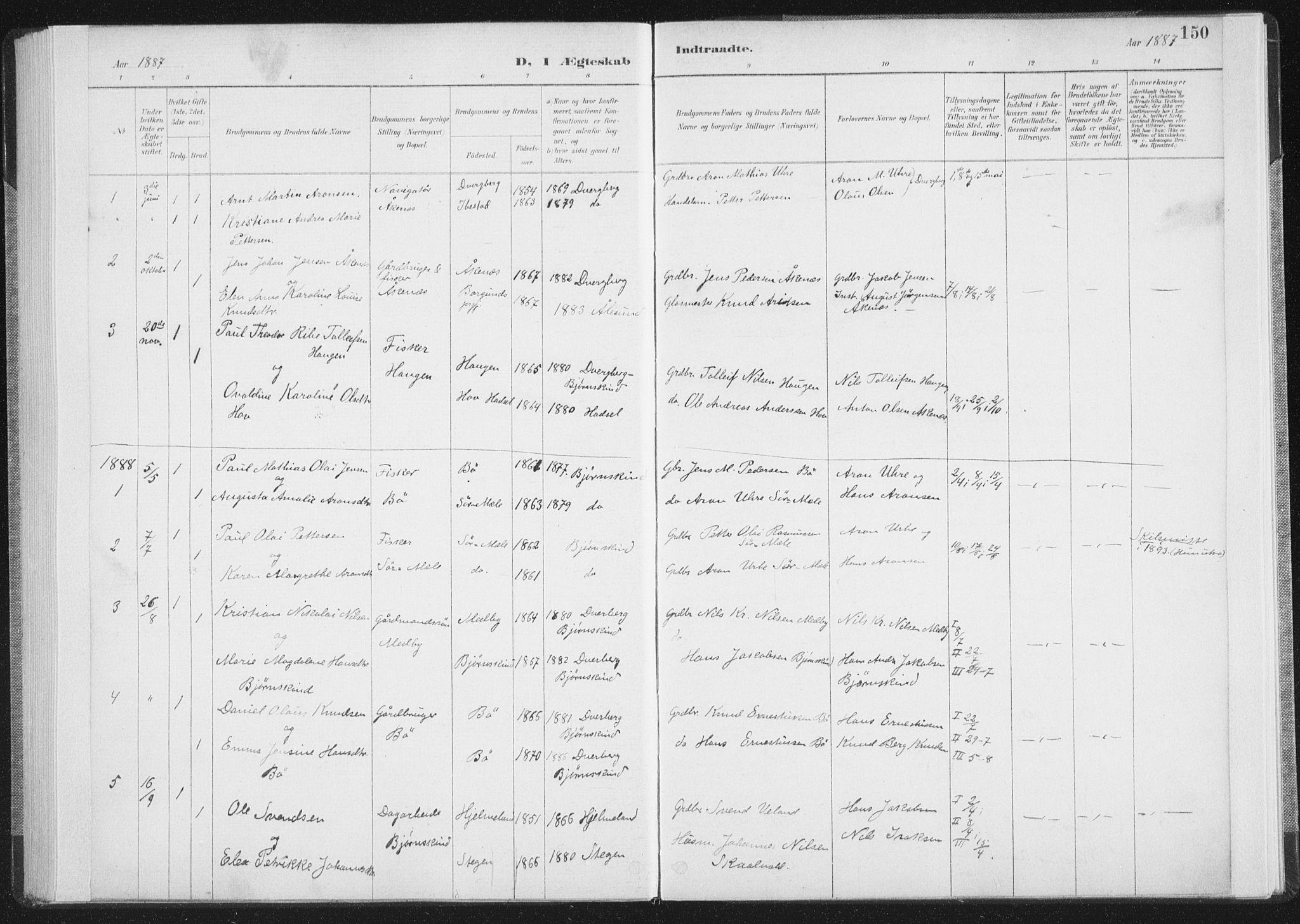 SAT, Ministerialprotokoller, klokkerbøker og fødselsregistre - Nordland, 898/L1422: Ministerialbok nr. 898A02, 1887-1908, s. 150