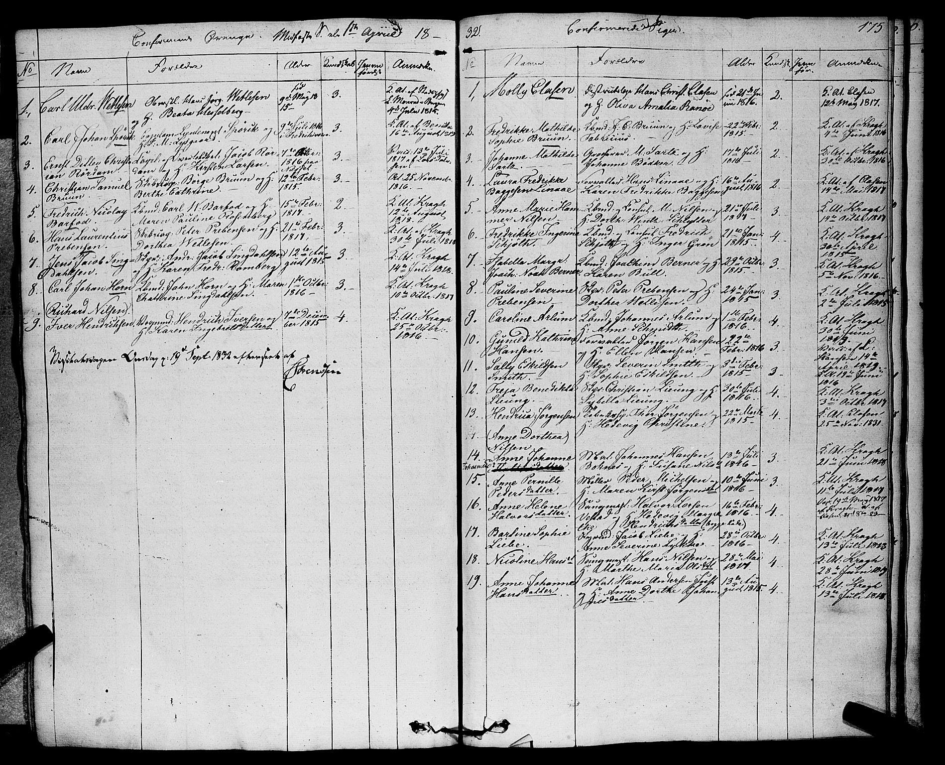 SAKO, Larvik kirkebøker, F/Fa/L0002: Ministerialbok nr. I 2, 1825-1847, s. 175