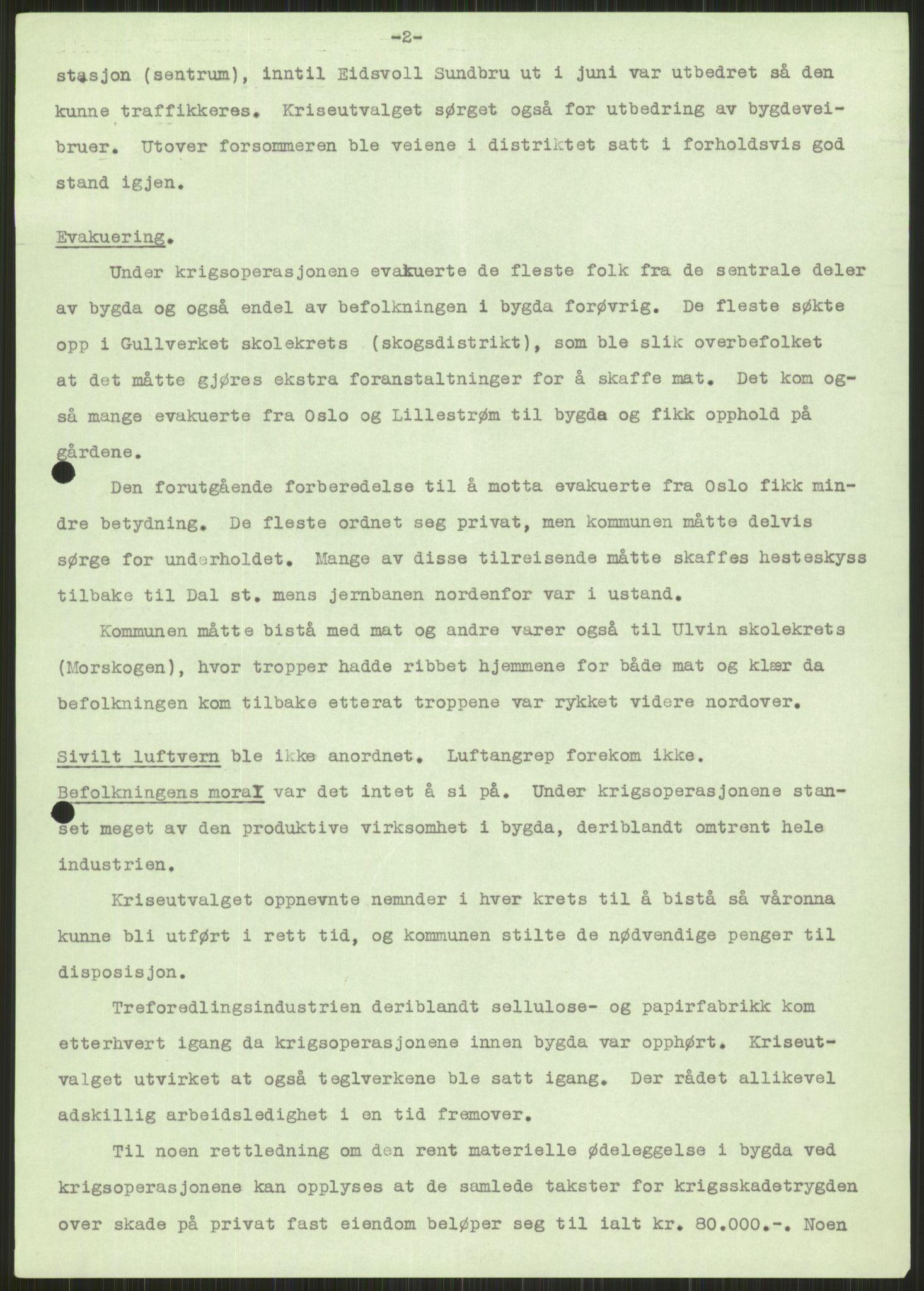 RA, Forsvaret, Forsvarets krigshistoriske avdeling, Y/Ya/L0013: II-C-11-31 - Fylkesmenn.  Rapporter om krigsbegivenhetene 1940., 1940, s. 742