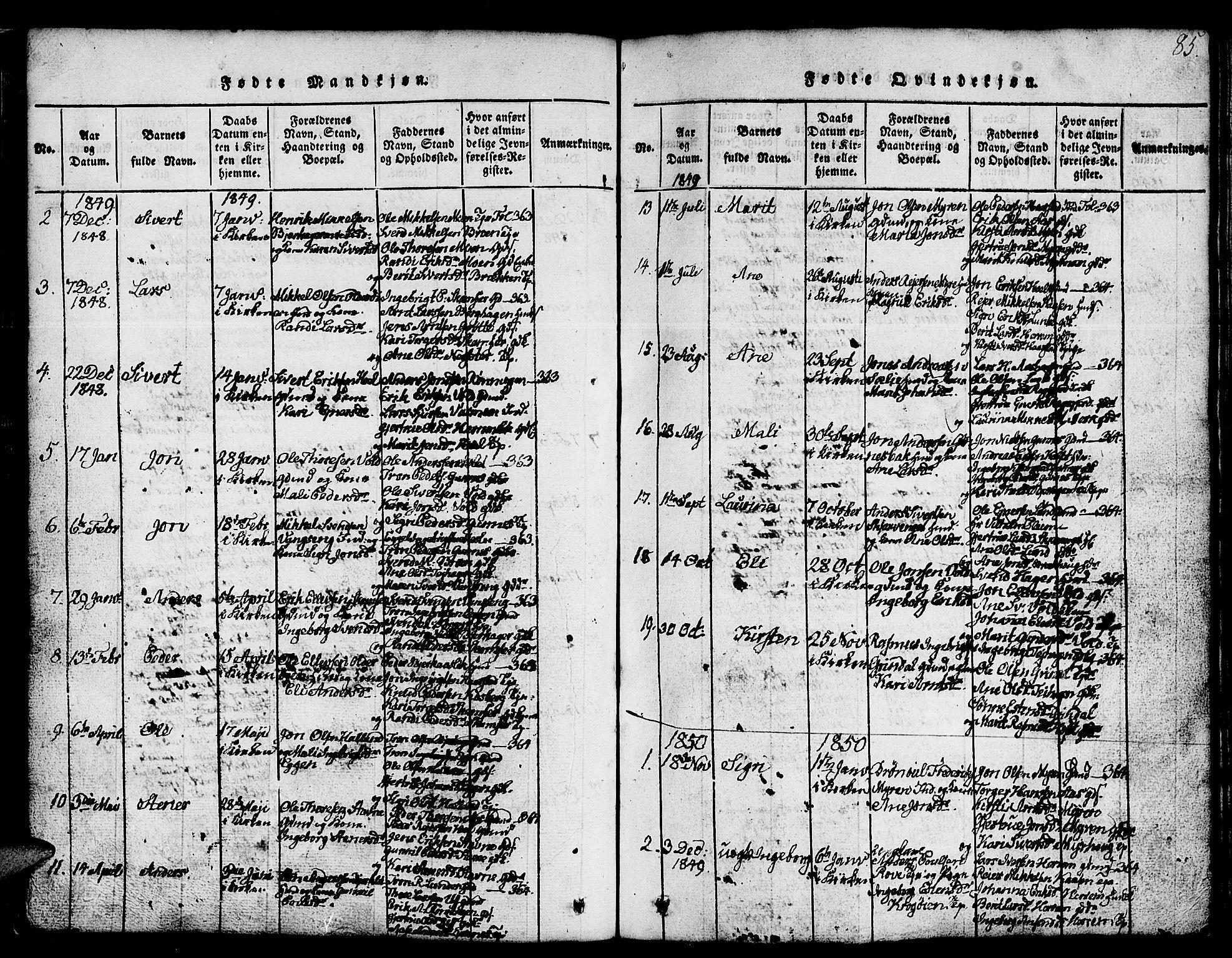 SAT, Ministerialprotokoller, klokkerbøker og fødselsregistre - Sør-Trøndelag, 674/L0874: Klokkerbok nr. 674C01, 1816-1860, s. 85