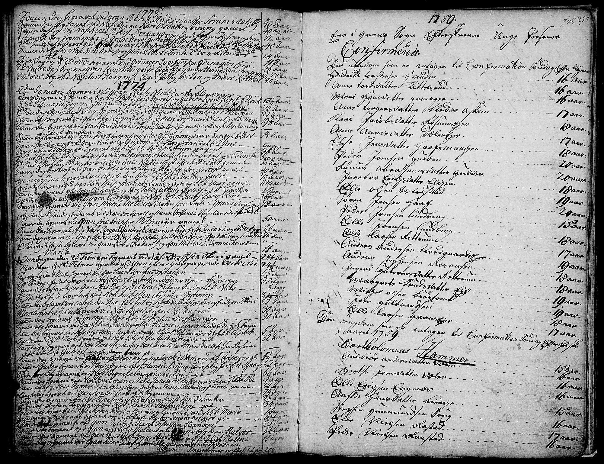SAH, Gran prestekontor, Ministerialbok nr. 4, 1759-1775, s. 254