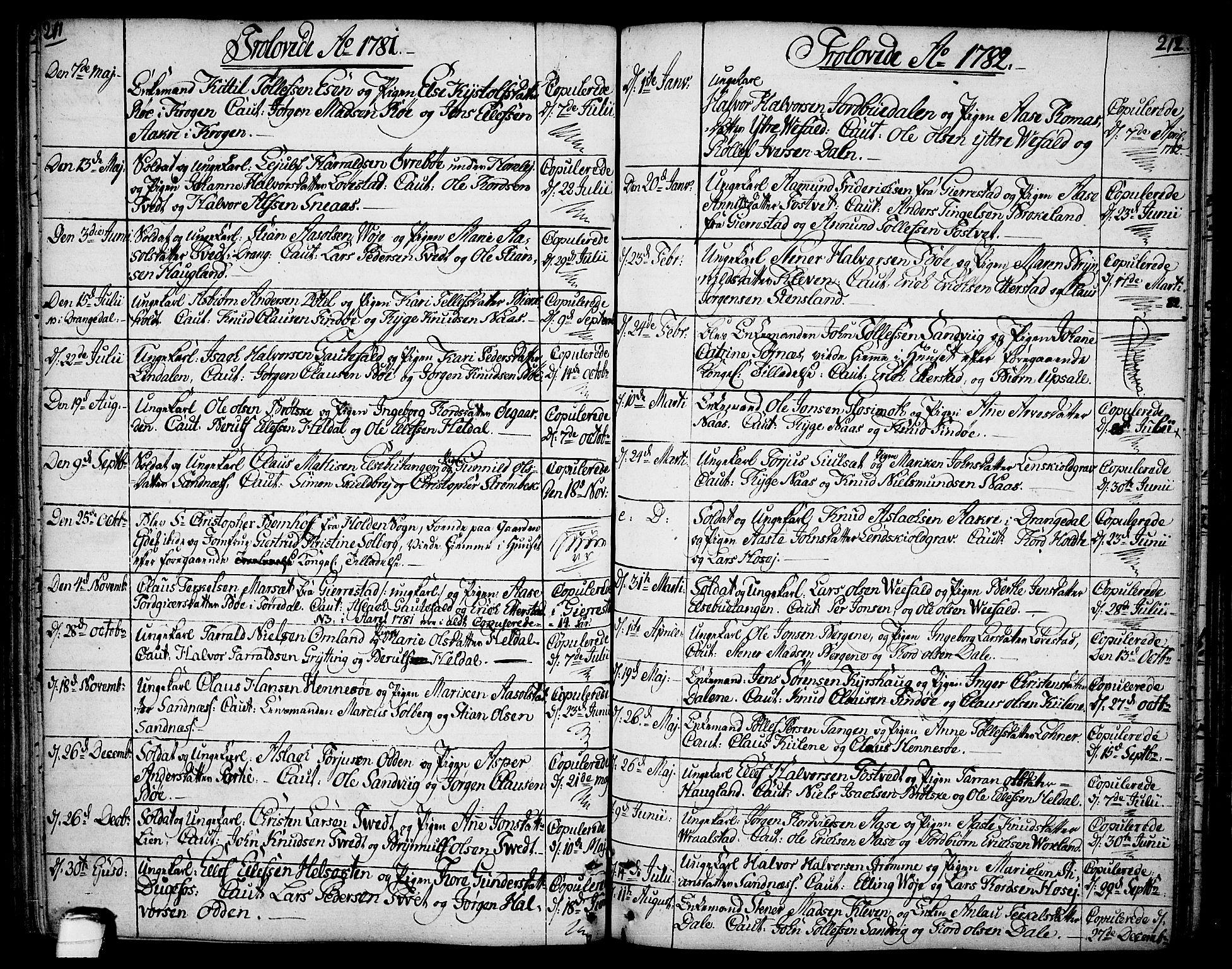 SAKO, Drangedal kirkebøker, F/Fa/L0003: Ministerialbok nr. 3, 1768-1814, s. 211-212