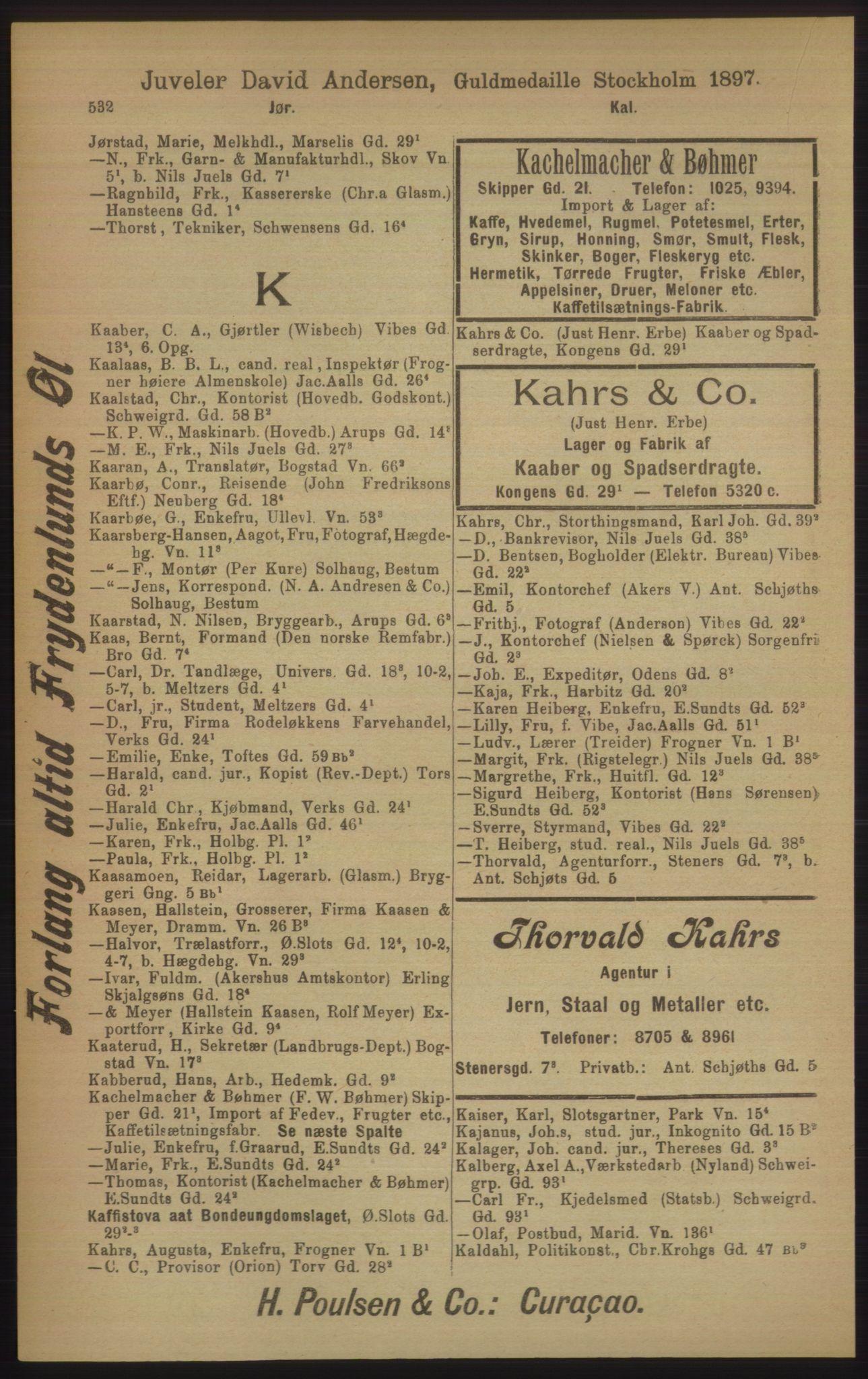 RA, Kristiania adressebok (publikasjon)*, 1906, s. 532