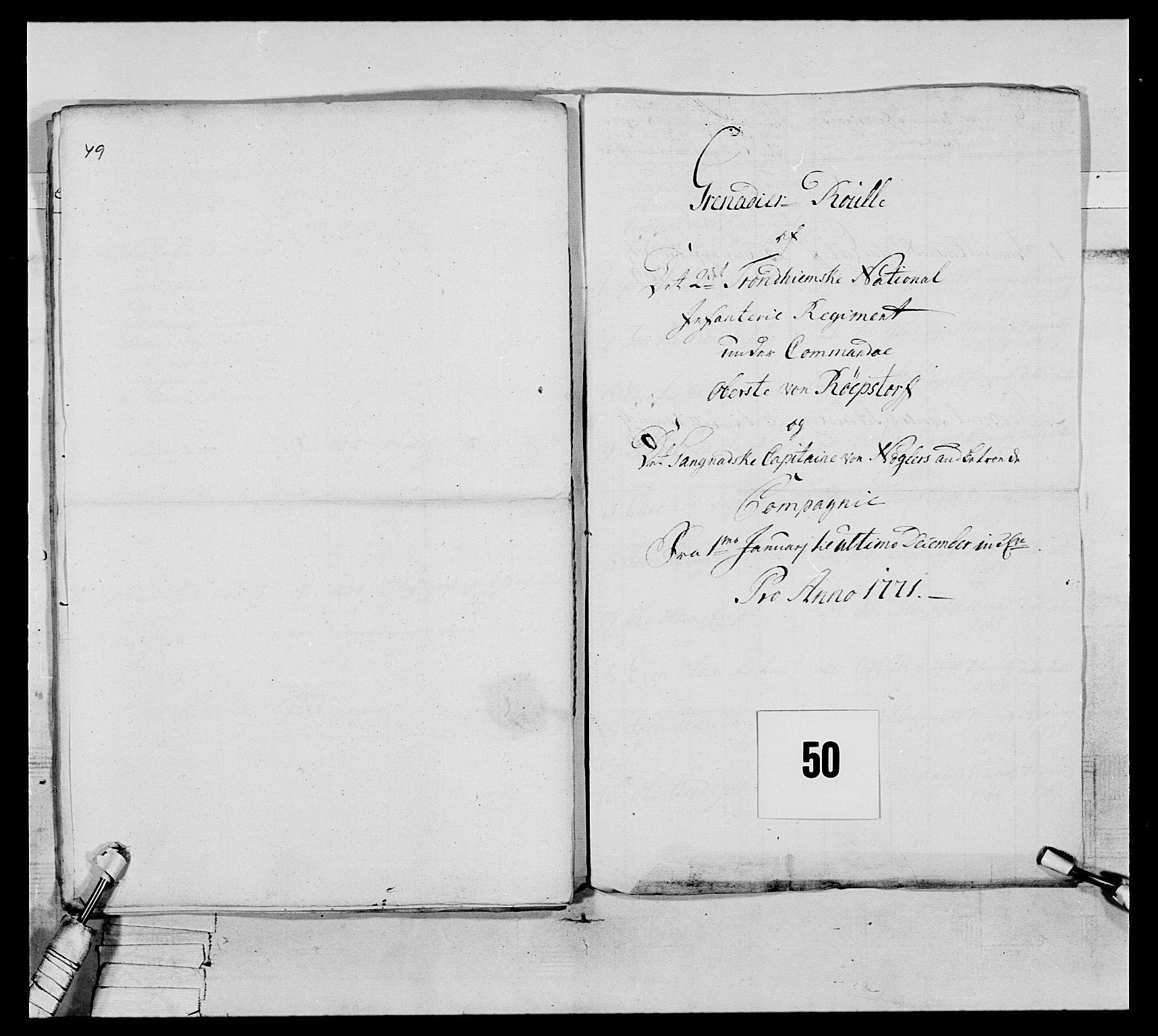 RA, Generalitets- og kommissariatskollegiet, Det kongelige norske kommissariatskollegium, E/Eh/L0076: 2. Trondheimske nasjonale infanteriregiment, 1766-1773, s. 166