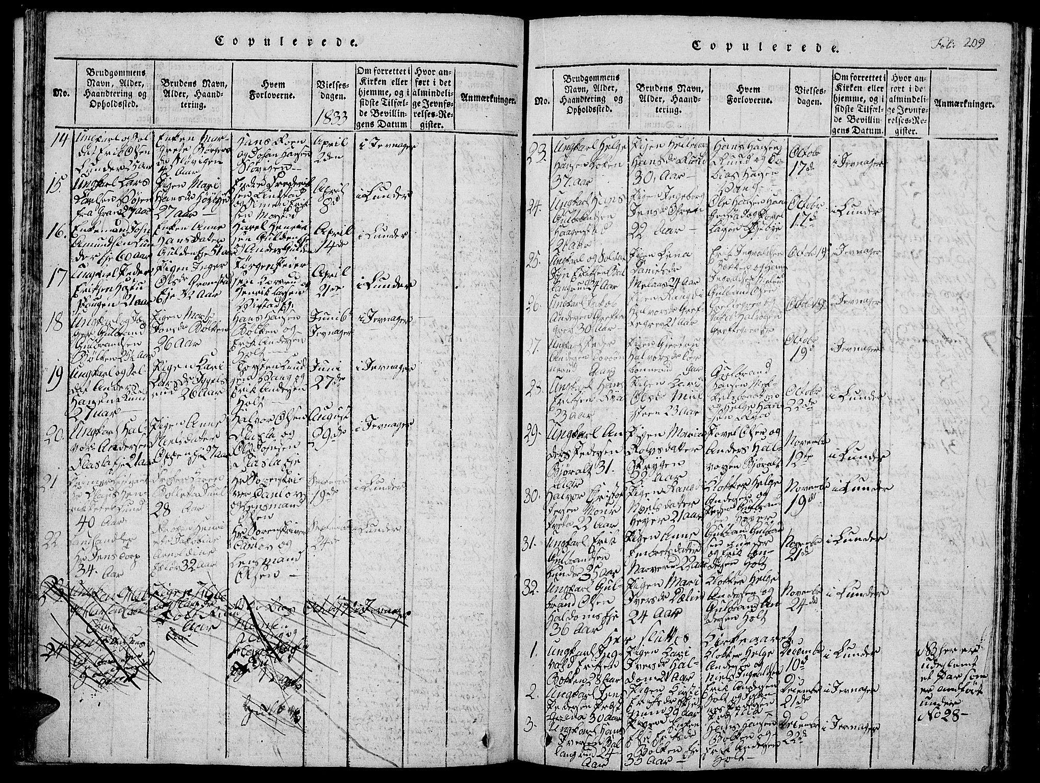 SAH, Jevnaker prestekontor, Klokkerbok nr. 1, 1815-1837, s. 209