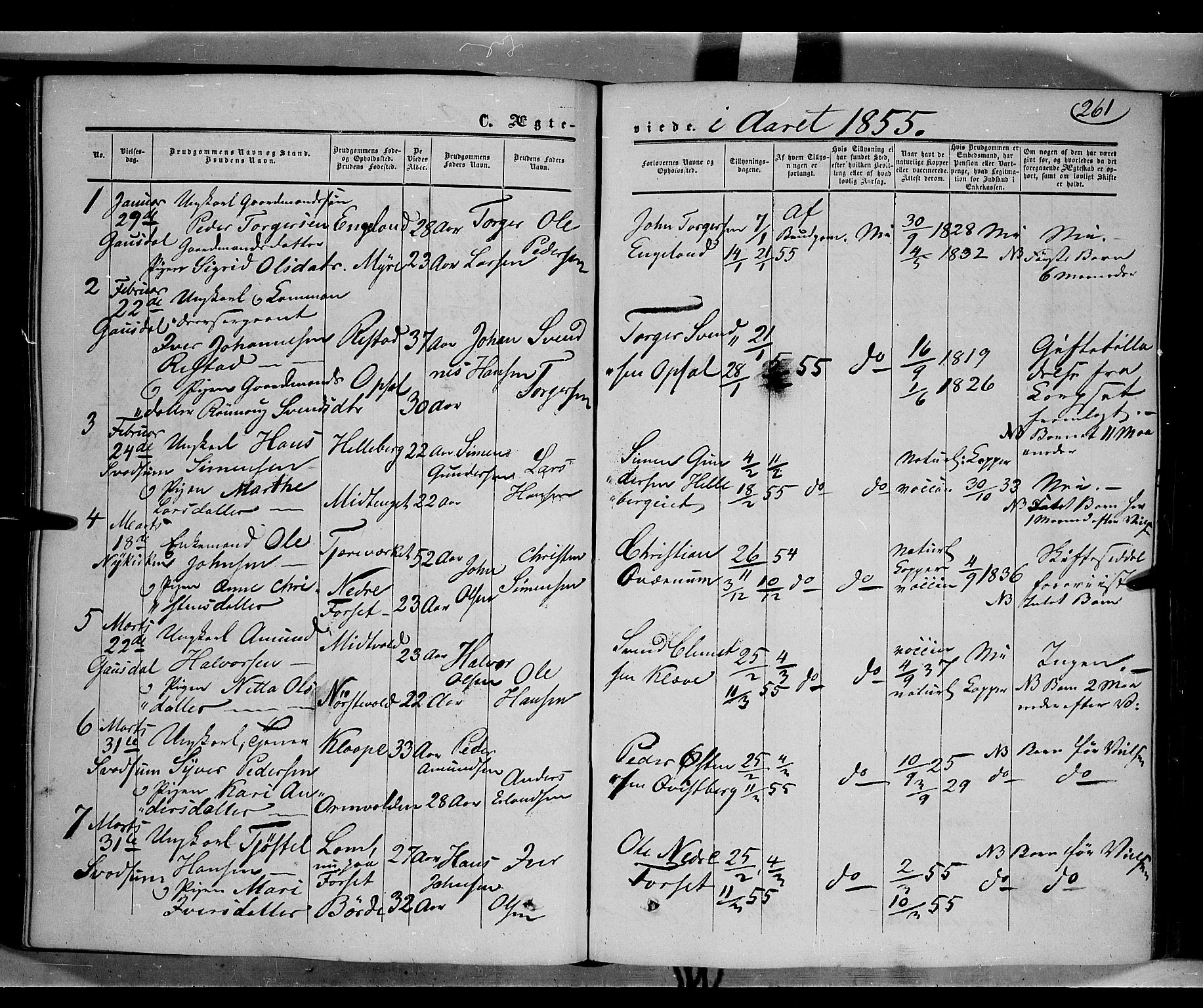SAH, Gausdal prestekontor, Ministerialbok nr. 8, 1850-1861, s. 261