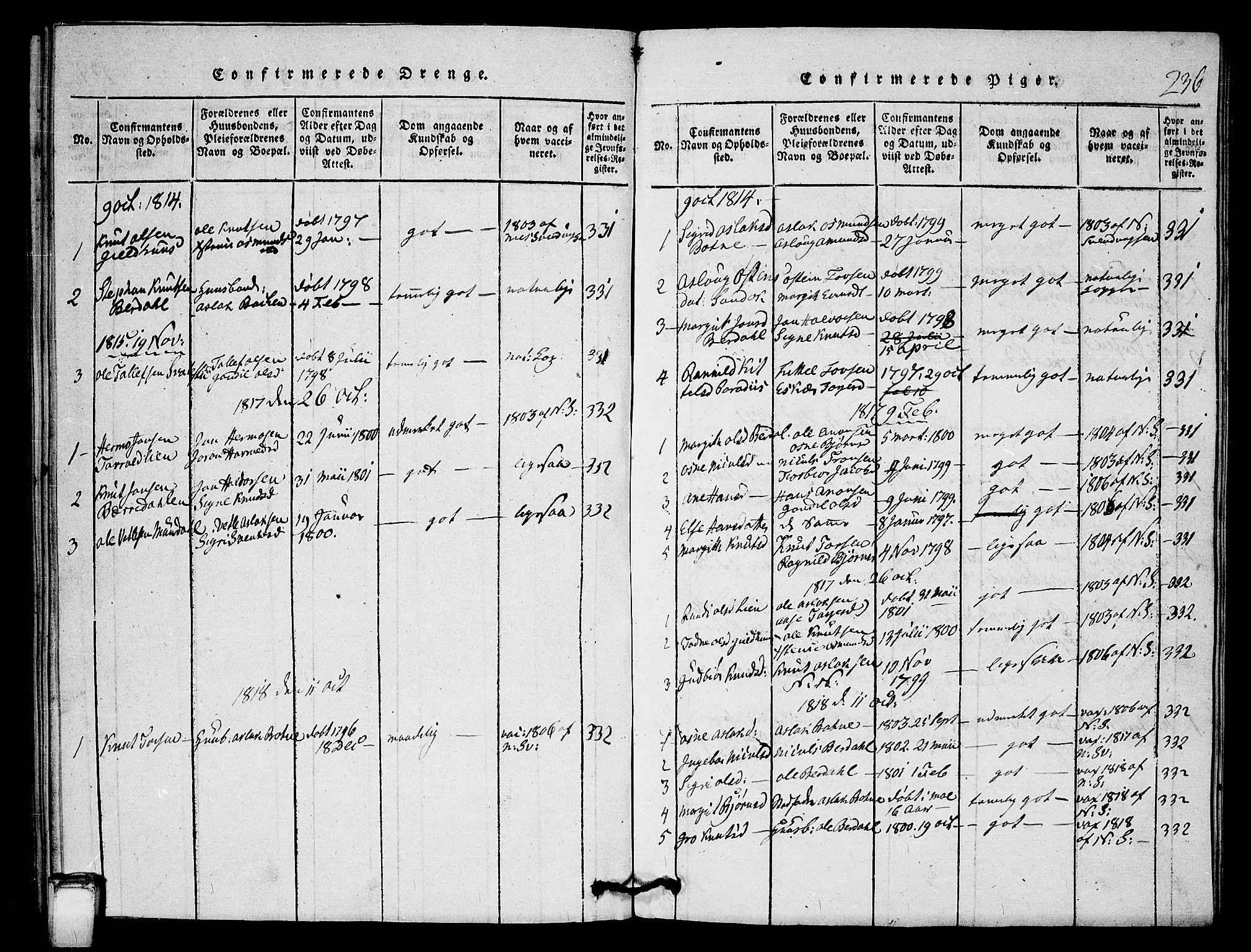 SAKO, Vinje kirkebøker, G/Gb/L0001: Klokkerbok nr. II 1, 1814-1843, s. 236