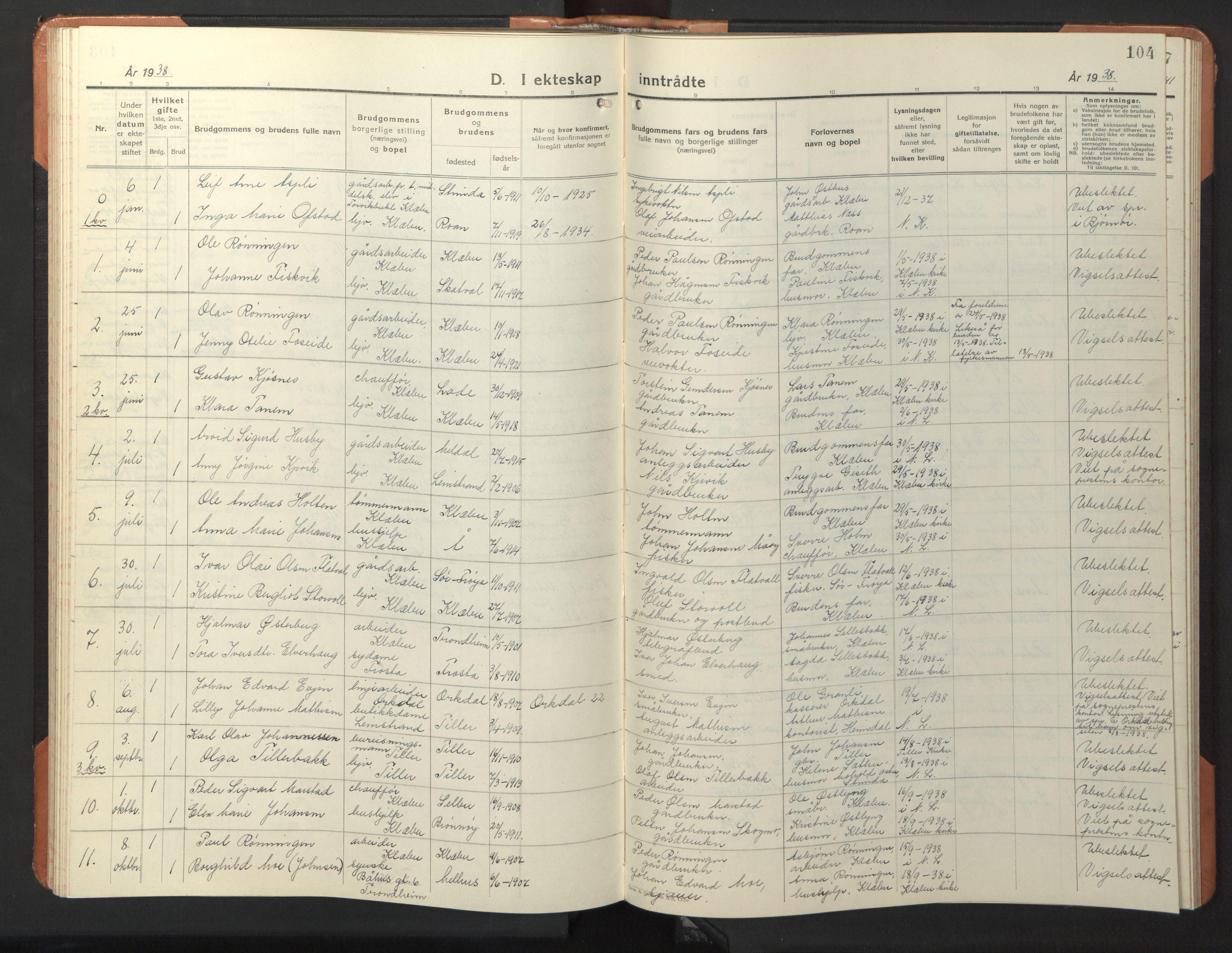 SAT, Ministerialprotokoller, klokkerbøker og fødselsregistre - Sør-Trøndelag, 618/L0454: Klokkerbok nr. 618C05, 1926-1946, s. 104