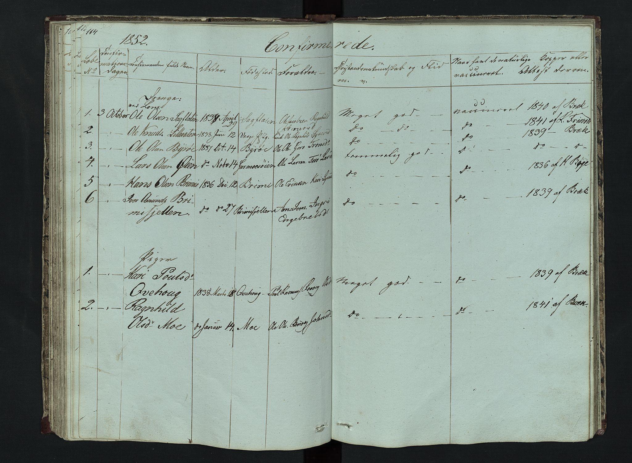 SAH, Lom prestekontor, L/L0014: Klokkerbok nr. 14, 1845-1876, s. 114-115