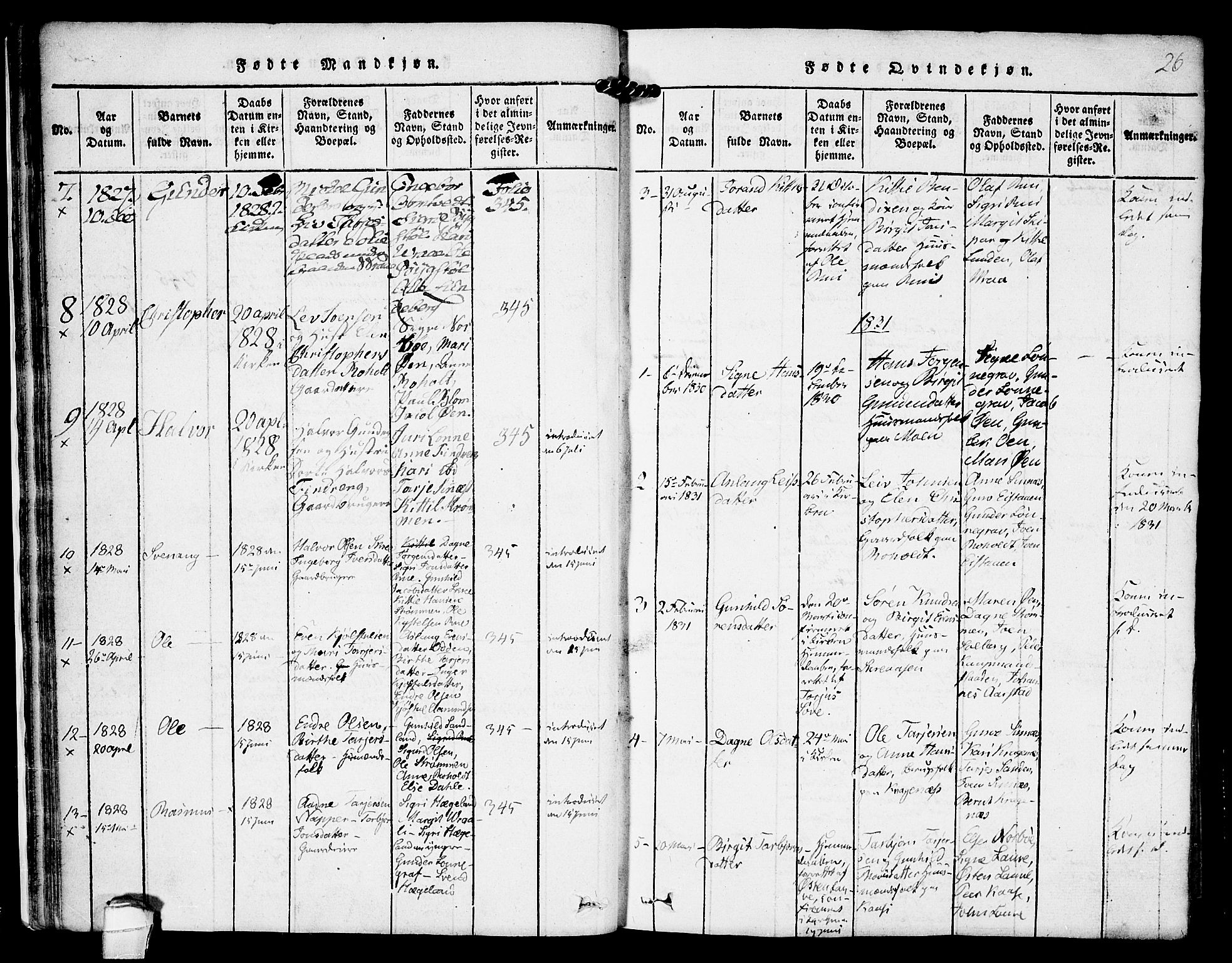 SAKO, Kviteseid kirkebøker, F/Fc/L0001: Ministerialbok nr. III 1, 1815-1836, s. 26