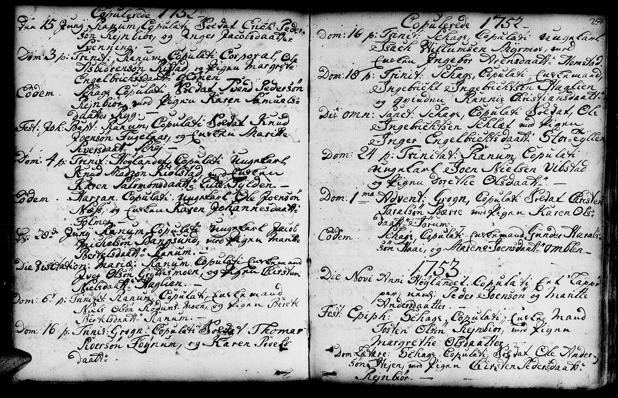 SAT, Ministerialprotokoller, klokkerbøker og fødselsregistre - Nord-Trøndelag, 764/L0542: Ministerialbok nr. 764A02, 1748-1779, s. 254