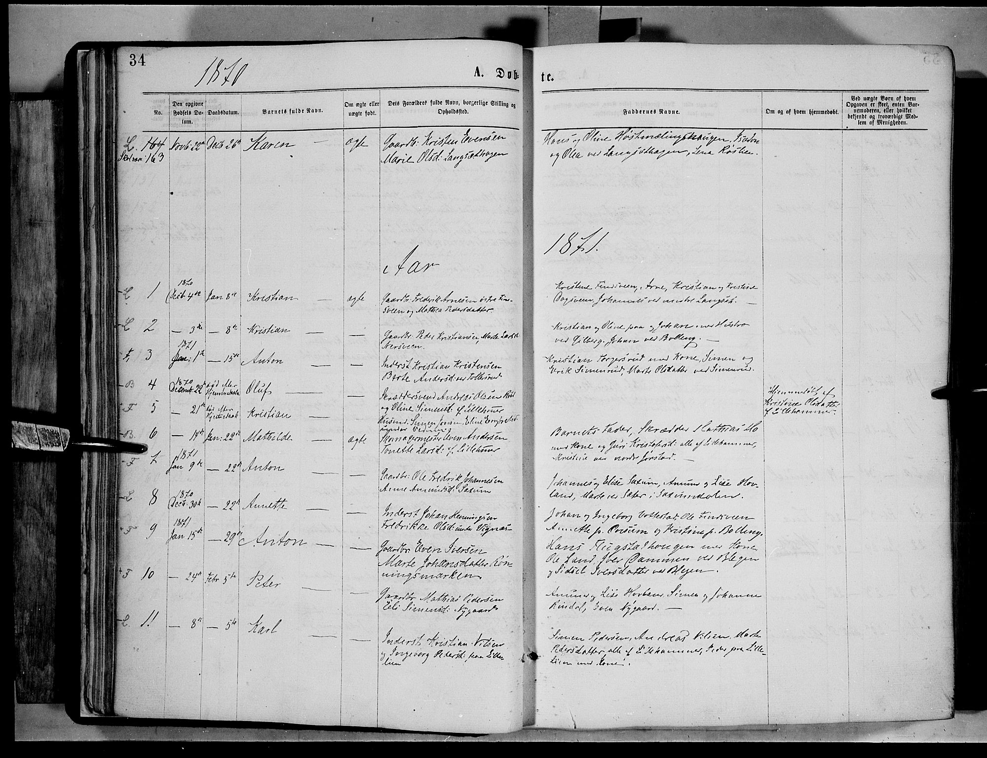 SAH, Fåberg prestekontor, Ministerialbok nr. 7, 1868-1878, s. 34