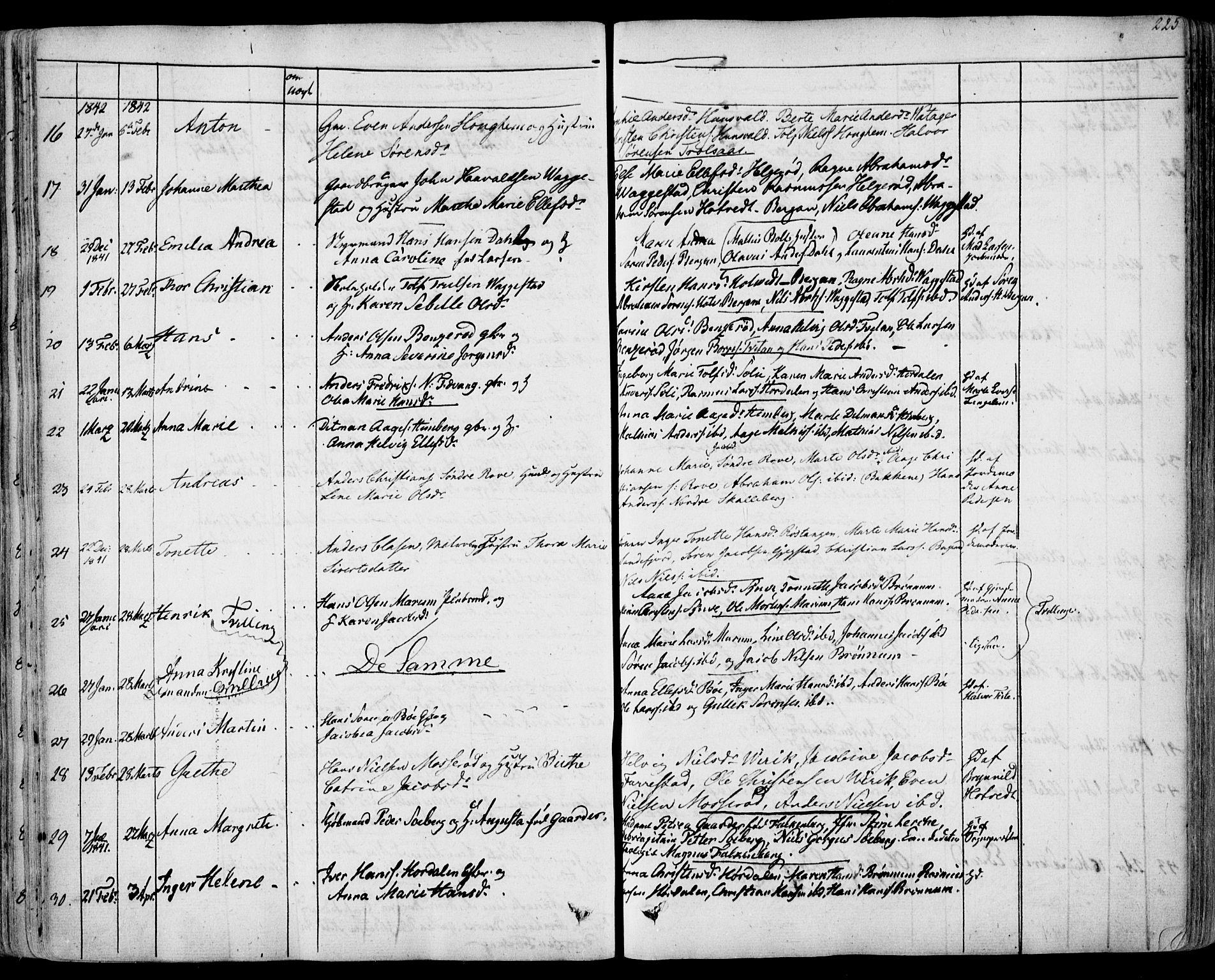 SAKO, Sandar kirkebøker, F/Fa/L0005: Ministerialbok nr. 5, 1832-1847, s. 224-225