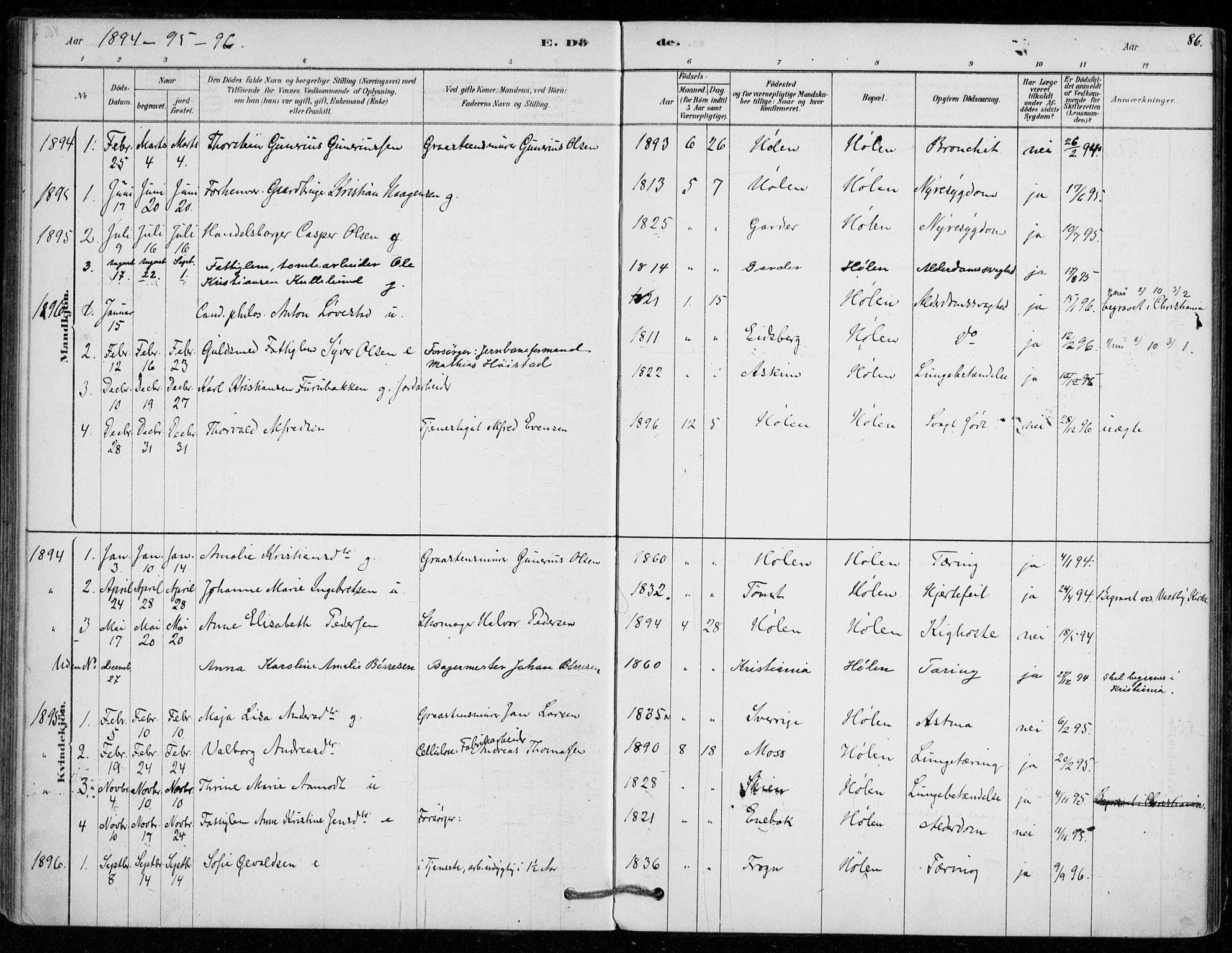 SAO, Vestby prestekontor Kirkebøker, F/Fe/L0001: Ministerialbok nr. V 1, 1878-1931, s. 86