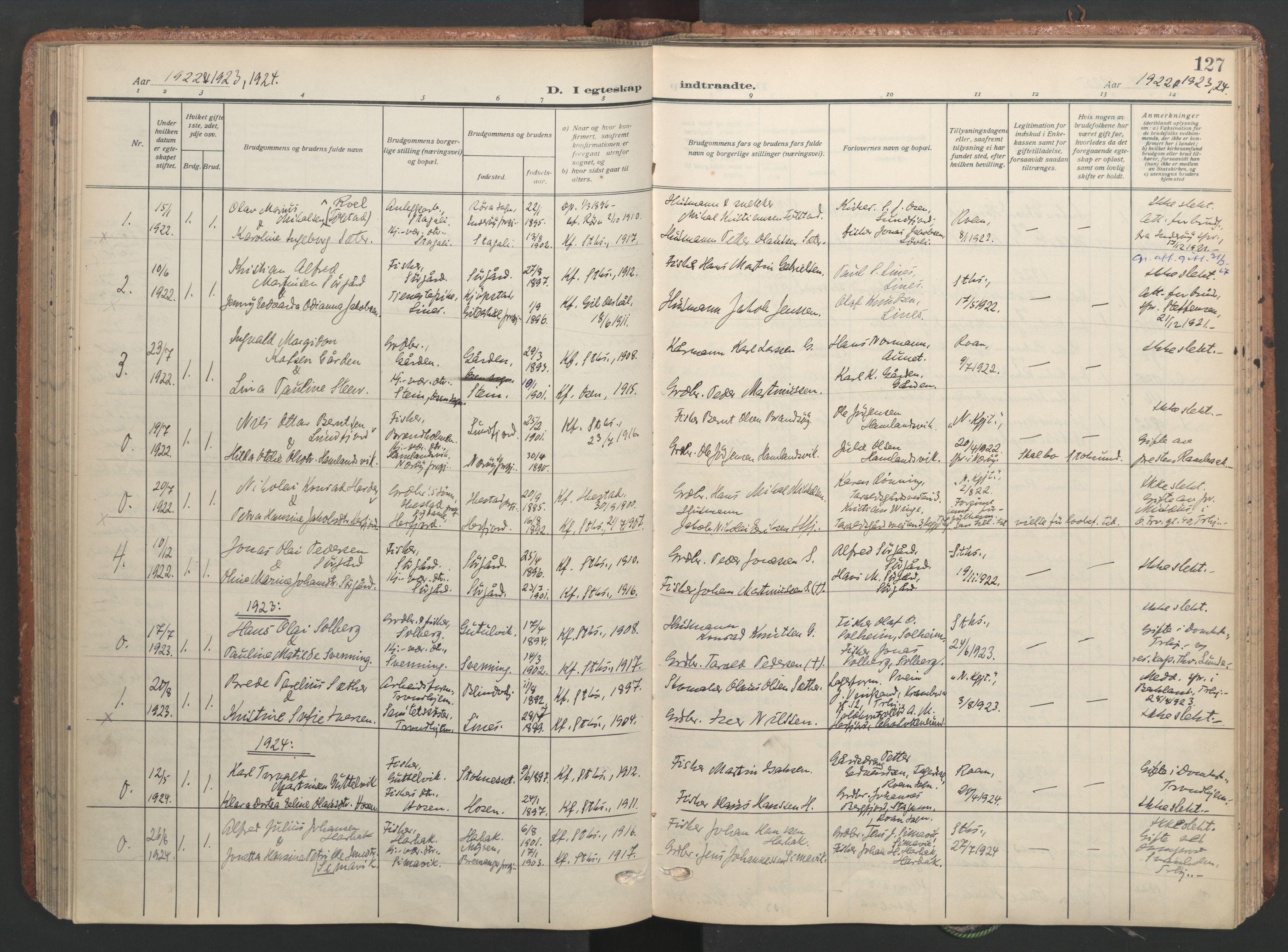 SAT, Ministerialprotokoller, klokkerbøker og fødselsregistre - Sør-Trøndelag, 656/L0694: Ministerialbok nr. 656A03, 1914-1931, s. 127