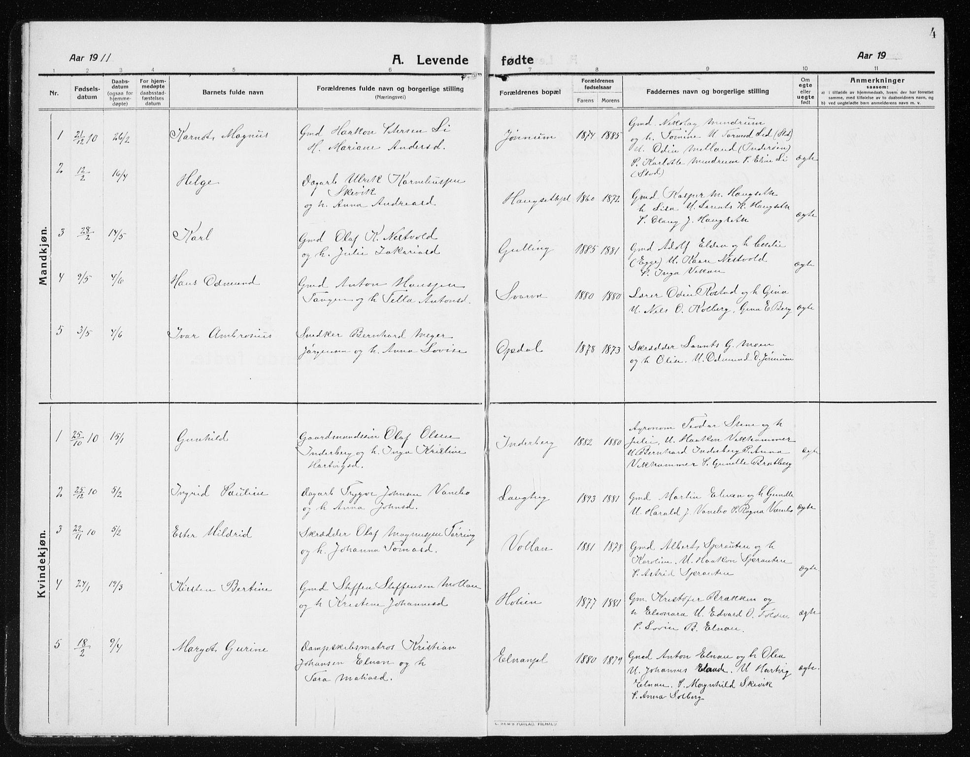 SAT, Ministerialprotokoller, klokkerbøker og fødselsregistre - Nord-Trøndelag, 741/L0402: Klokkerbok nr. 741C03, 1911-1926, s. 4