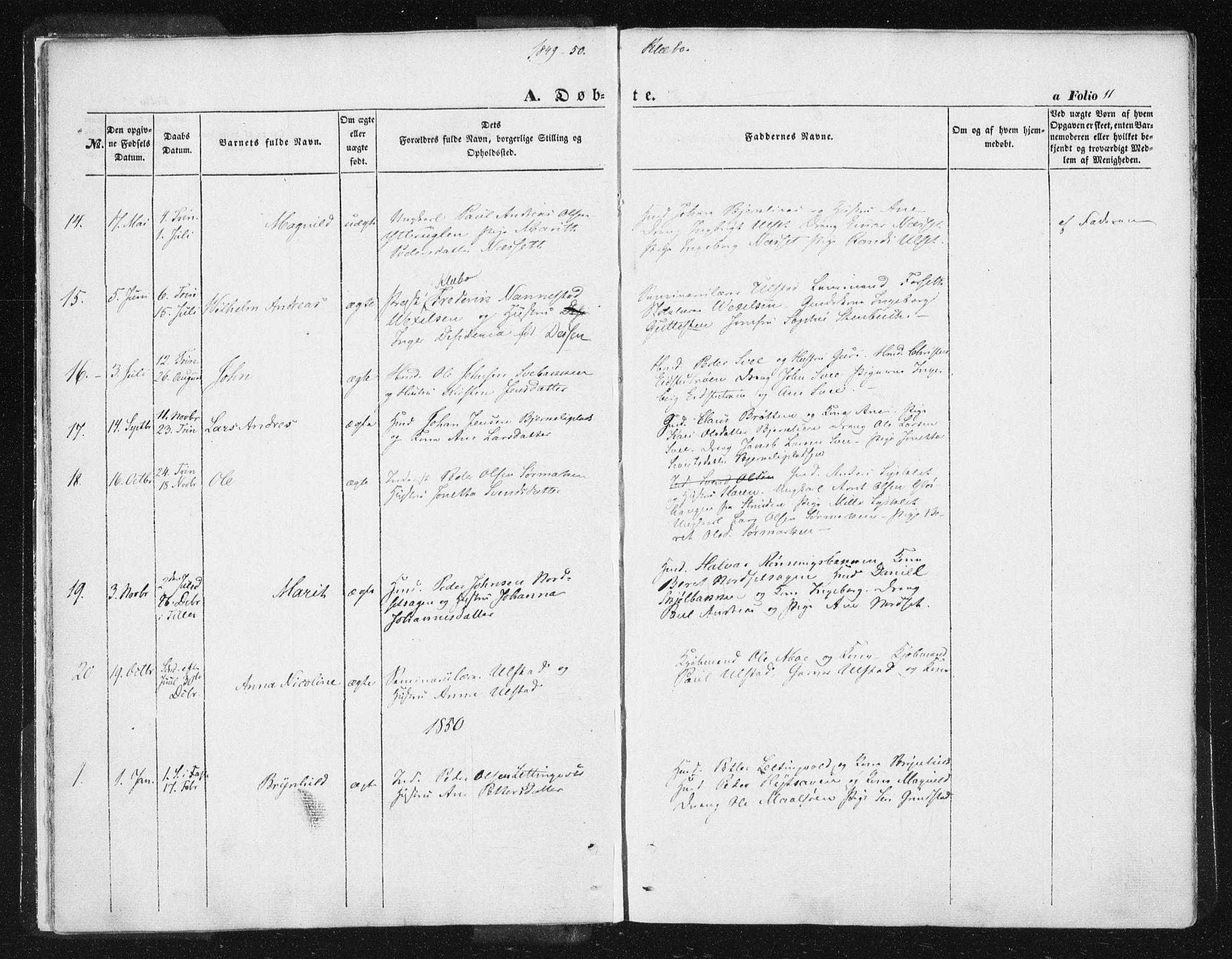 SAT, Ministerialprotokoller, klokkerbøker og fødselsregistre - Sør-Trøndelag, 618/L0441: Ministerialbok nr. 618A05, 1843-1862, s. 11