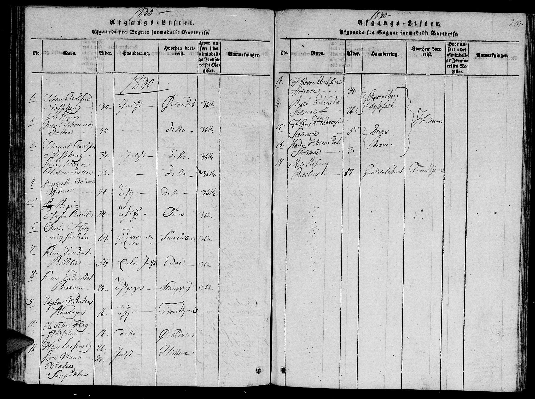 SAT, Ministerialprotokoller, klokkerbøker og fødselsregistre - Sør-Trøndelag, 630/L0491: Ministerialbok nr. 630A04, 1818-1830, s. 279
