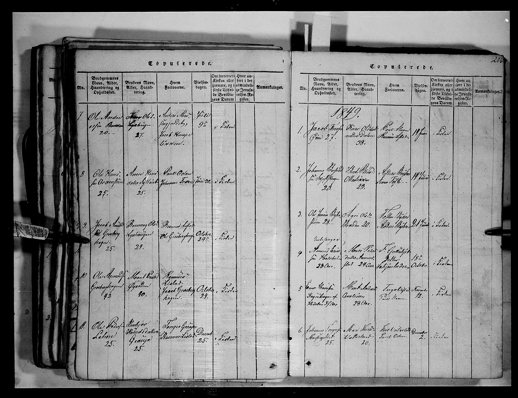 SAH, Fron prestekontor, H/Ha/Hab/L0003: Klokkerbok nr. 3, 1816-1850, s. 206