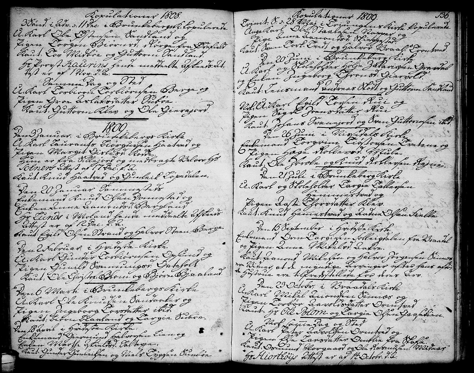 SAKO, Kviteseid kirkebøker, F/Fa/L0004: Ministerialbok nr. I 4, 1800-1814, s. 136