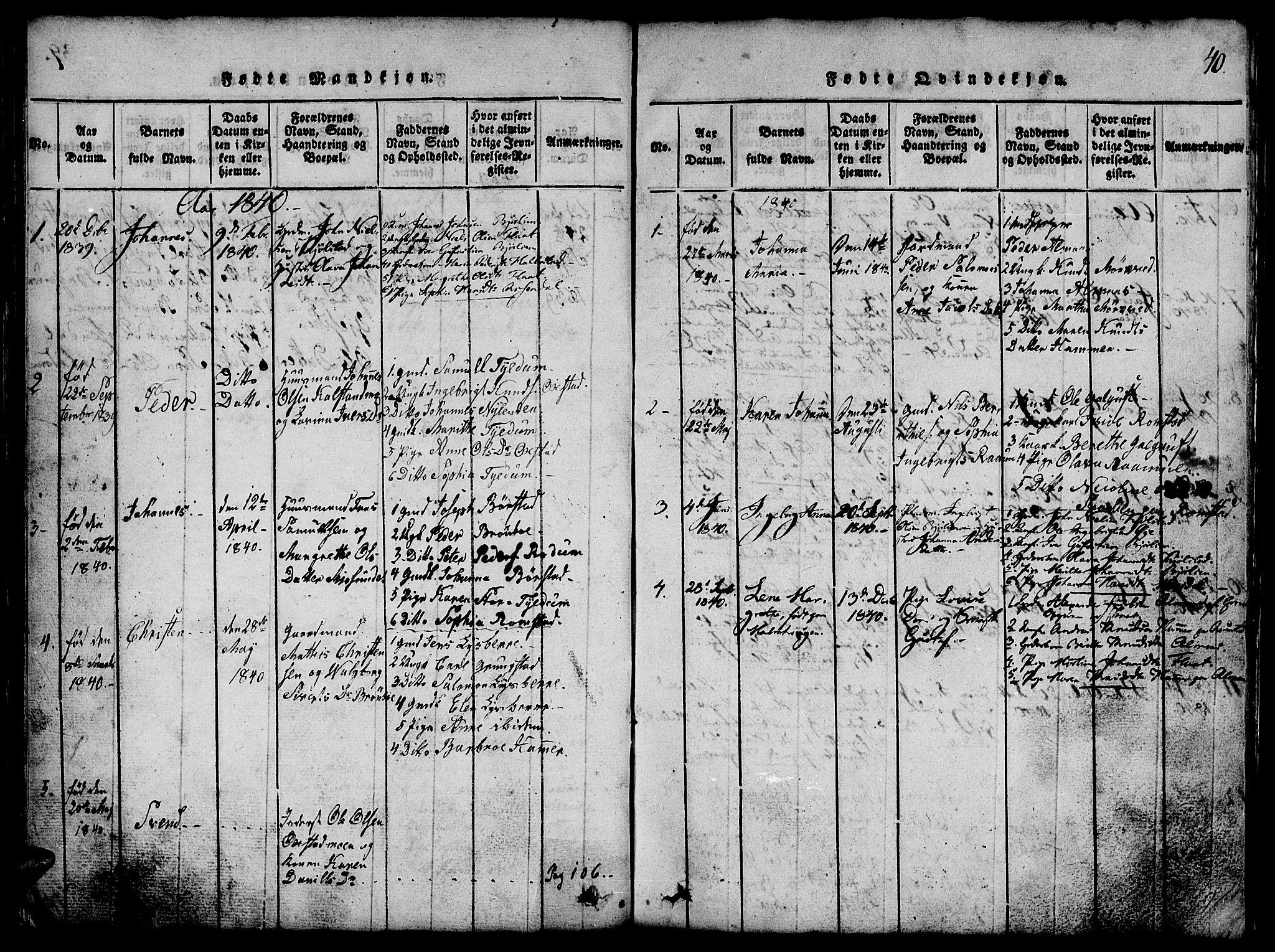 SAT, Ministerialprotokoller, klokkerbøker og fødselsregistre - Nord-Trøndelag, 765/L0562: Klokkerbok nr. 765C01, 1817-1851, s. 40