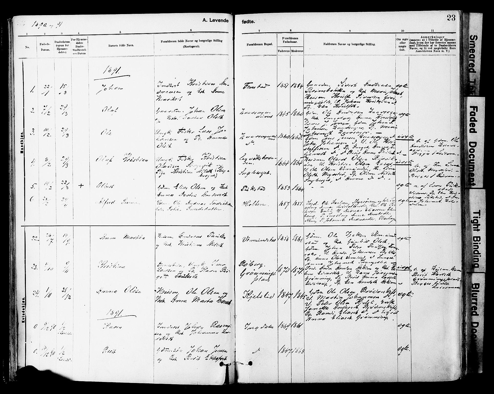 SAT, Ministerialprotokoller, klokkerbøker og fødselsregistre - Sør-Trøndelag, 646/L0615: Ministerialbok nr. 646A13, 1885-1900, s. 23