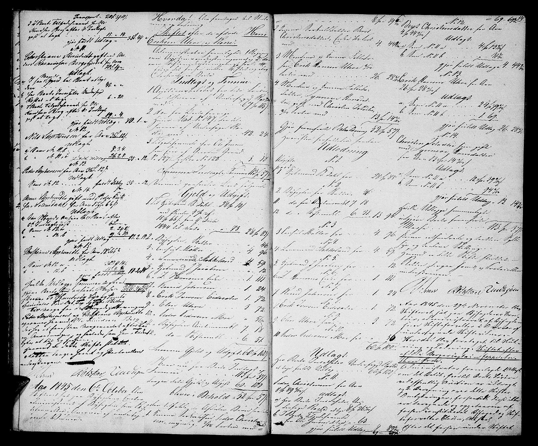 SAT, Molde byfogd, 3Ab/L0001: Skifteutlodningsprotokoll, 1842-1867, s. 14