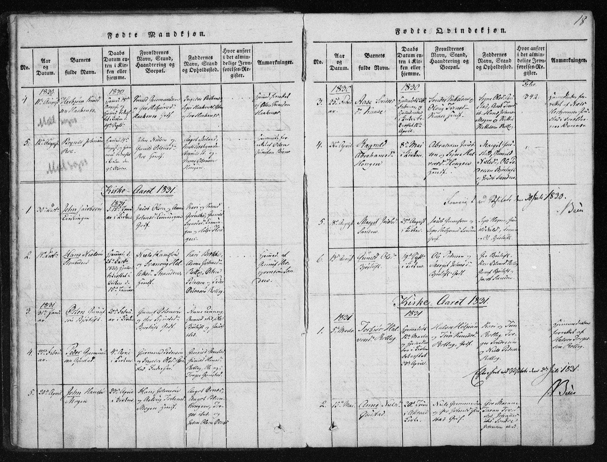 SAKO, Tinn kirkebøker, F/Fb/L0001: Ministerialbok nr. II 1, 1815-1843, s. 18