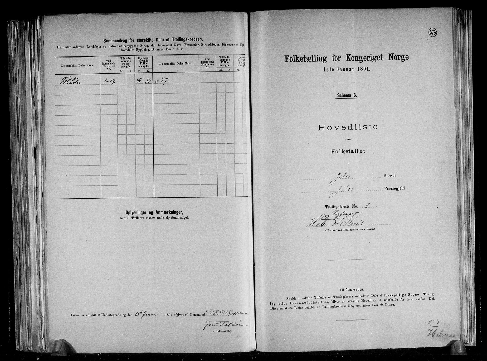 RA, Folketelling 1891 for 1138 Jelsa herred, 1891, s. 9