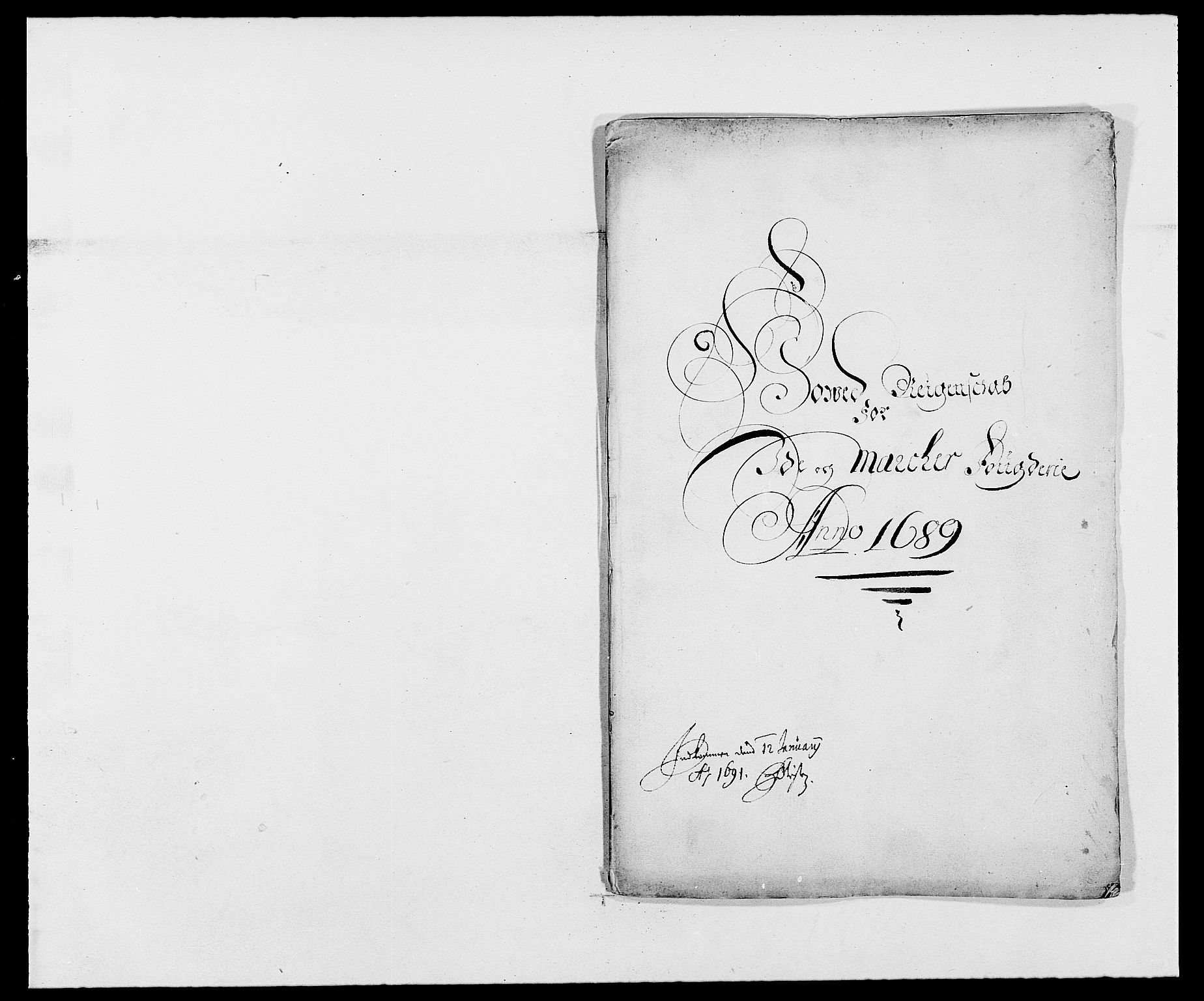 RA, Rentekammeret inntil 1814, Reviderte regnskaper, Fogderegnskap, R01/L0008: Fogderegnskap Idd og Marker, 1689, s. 2