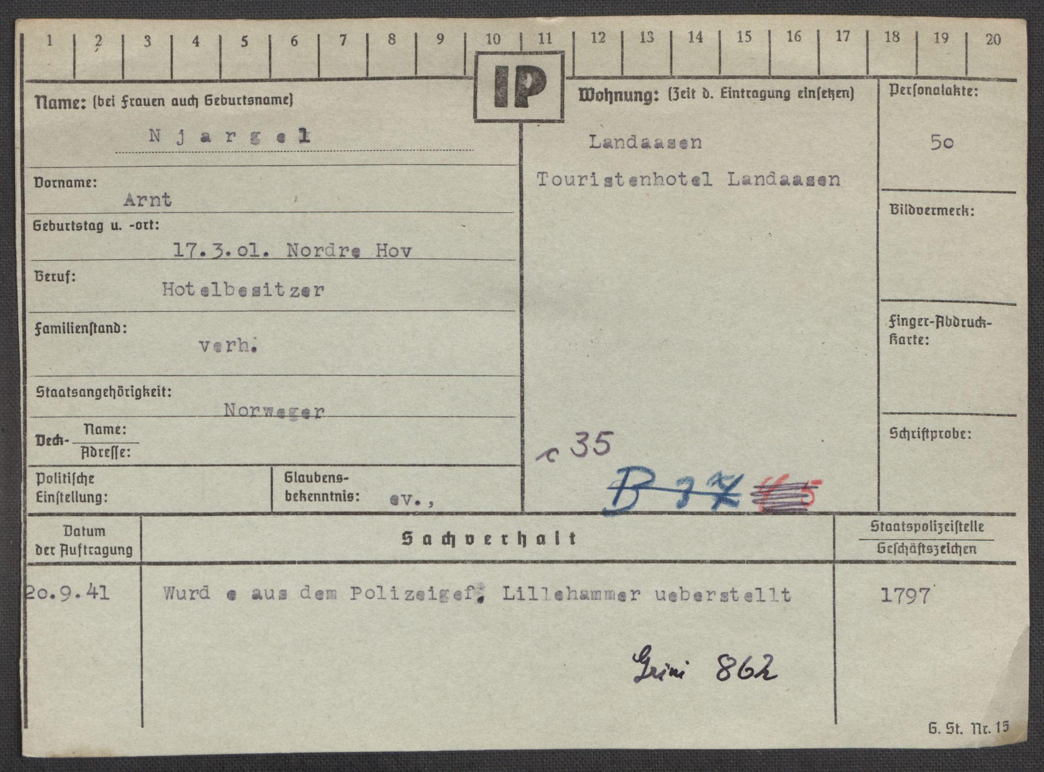 RA, Befehlshaber der Sicherheitspolizei und des SD, E/Ea/Eaa/L0007: Register over norske fanger i Møllergata 19: Lundb-N, 1940-1945, s. 1328