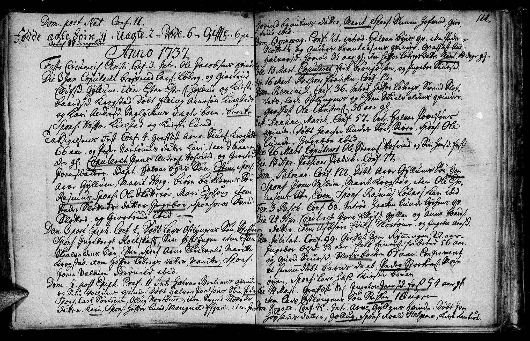 SAT, Ministerialprotokoller, klokkerbøker og fødselsregistre - Sør-Trøndelag, 692/L1101: Ministerialbok nr. 692A01, 1690-1746, s. 111