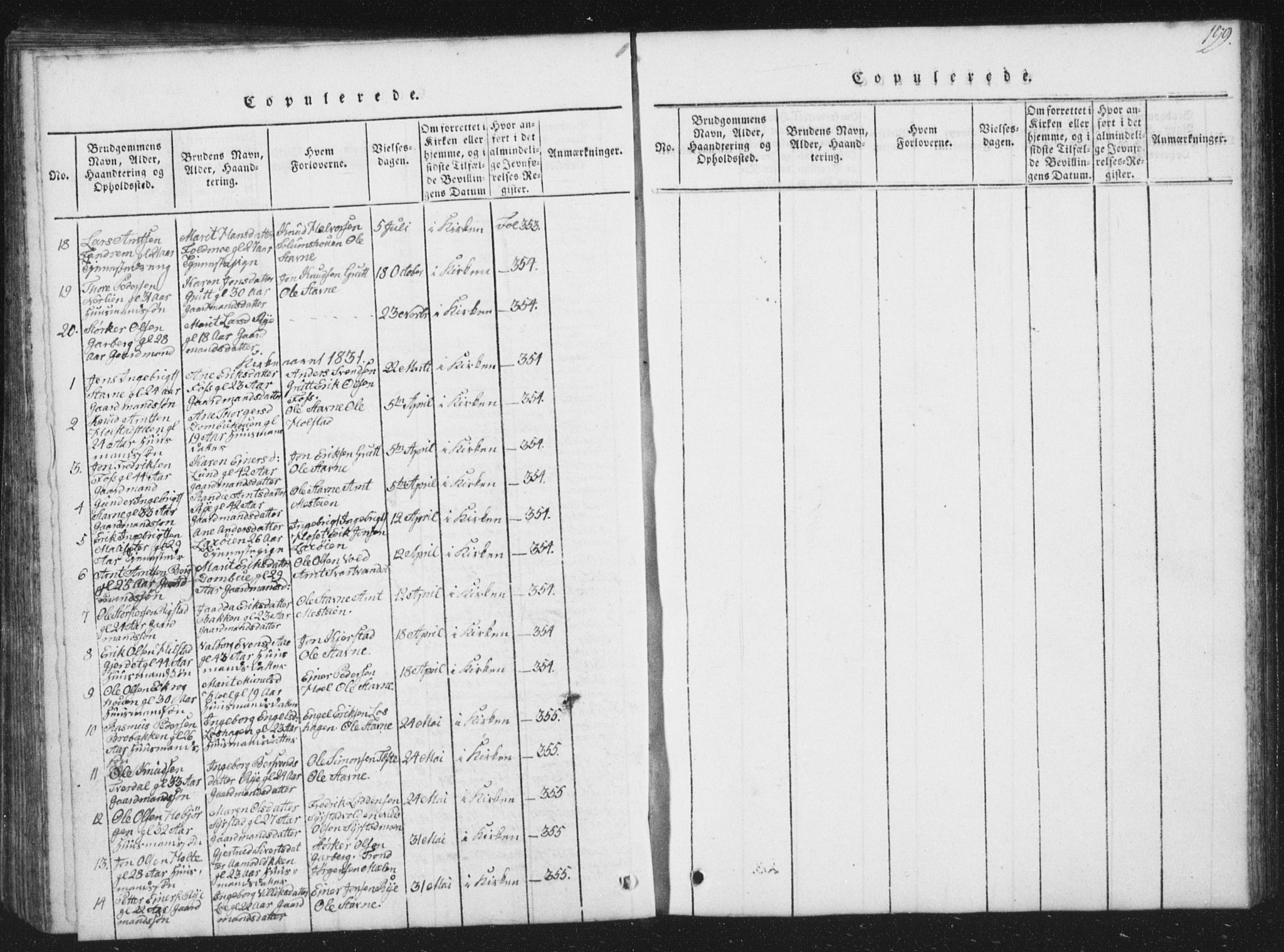 SAT, Ministerialprotokoller, klokkerbøker og fødselsregistre - Sør-Trøndelag, 672/L0862: Klokkerbok nr. 672C01, 1816-1831, s. 199
