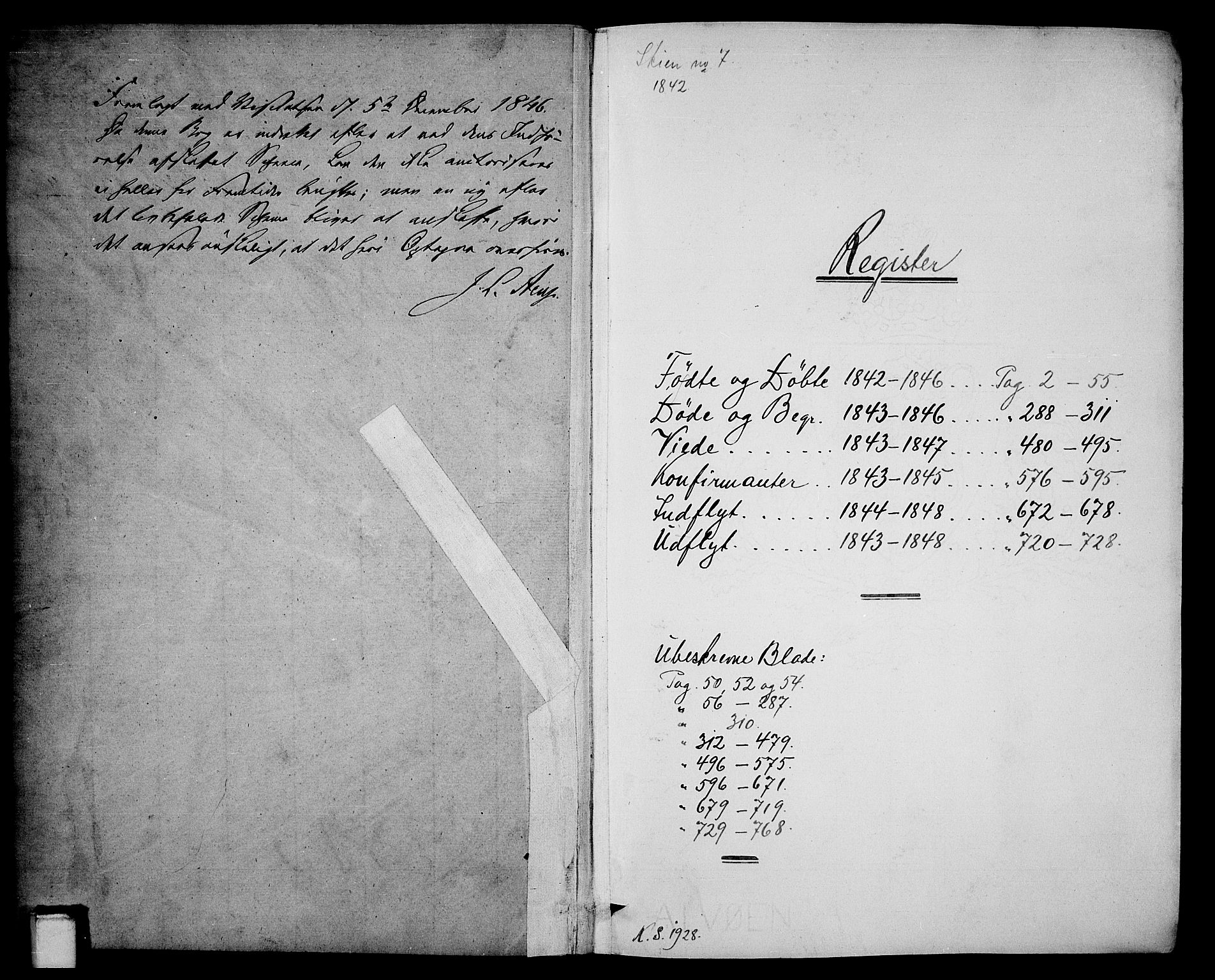 SAKO, Skien kirkebøker, G/Ga/L0003: Klokkerbok nr. 3, 1843-1847