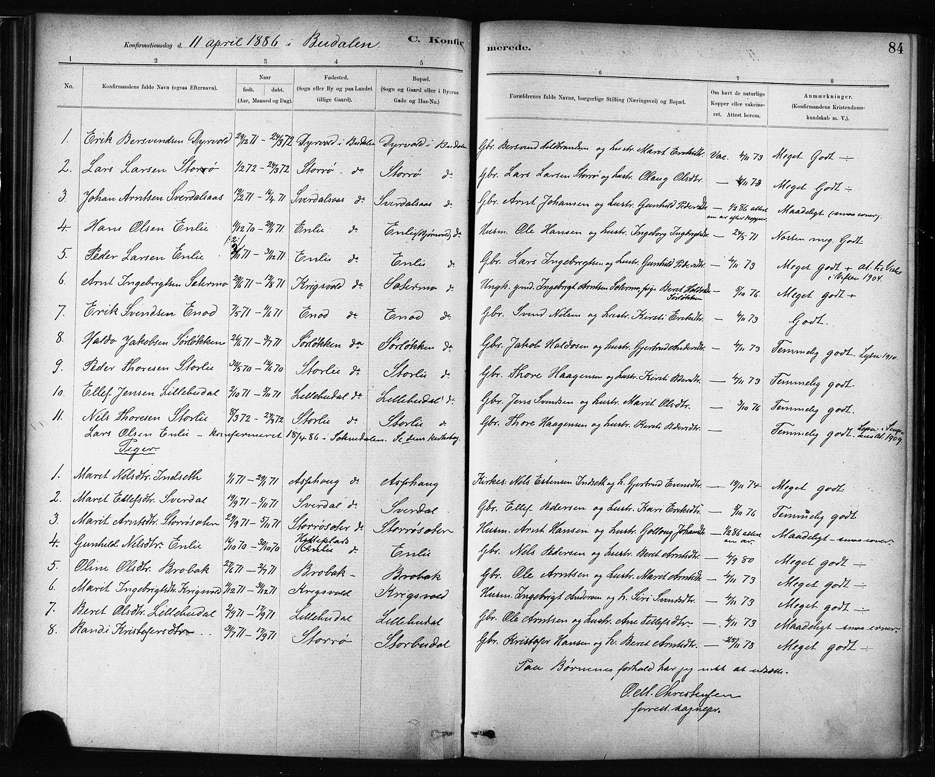 SAT, Ministerialprotokoller, klokkerbøker og fødselsregistre - Sør-Trøndelag, 687/L1002: Ministerialbok nr. 687A08, 1878-1890, s. 84