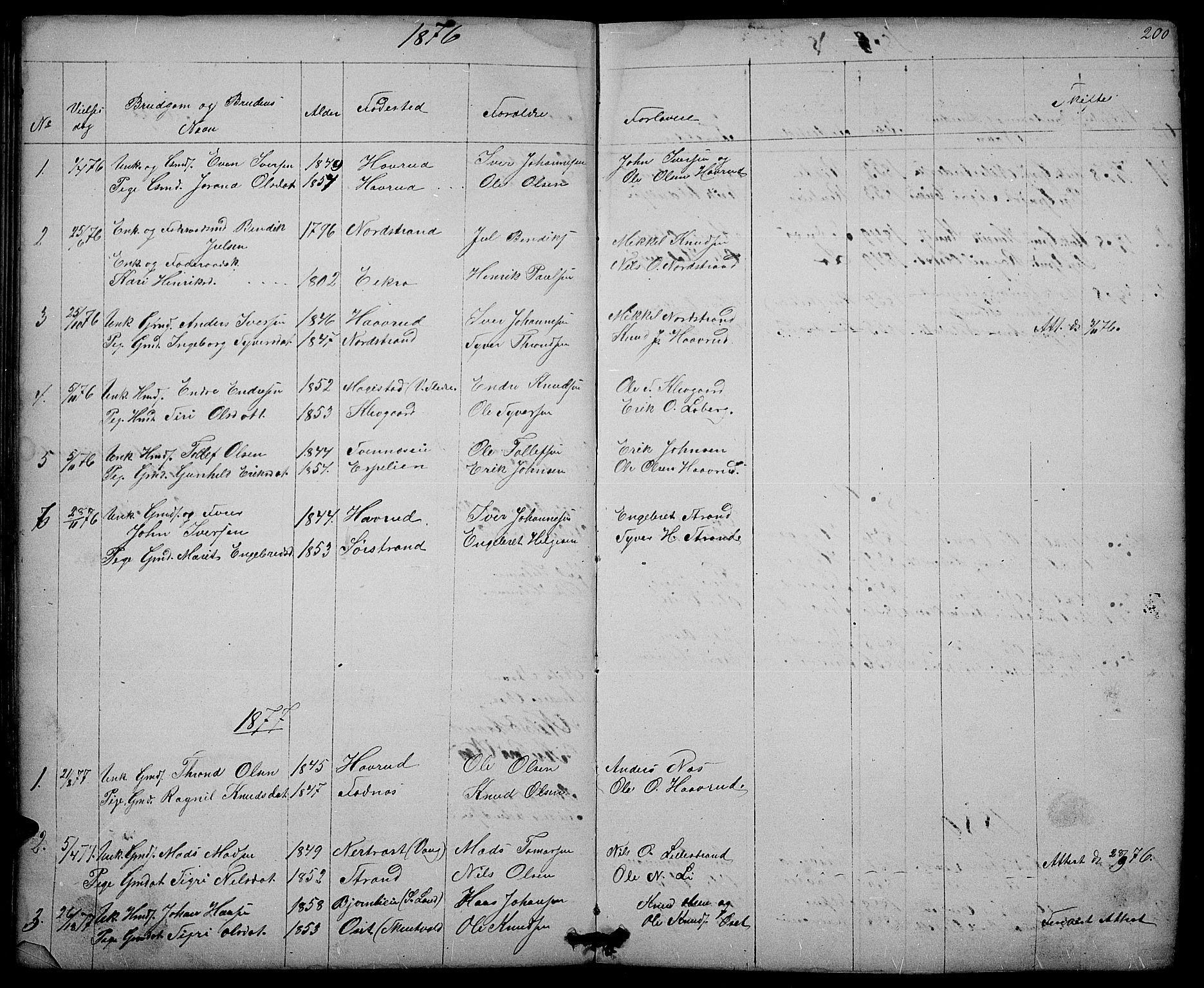 SAH, Nord-Aurdal prestekontor, Klokkerbok nr. 3, 1842-1882, s. 200
