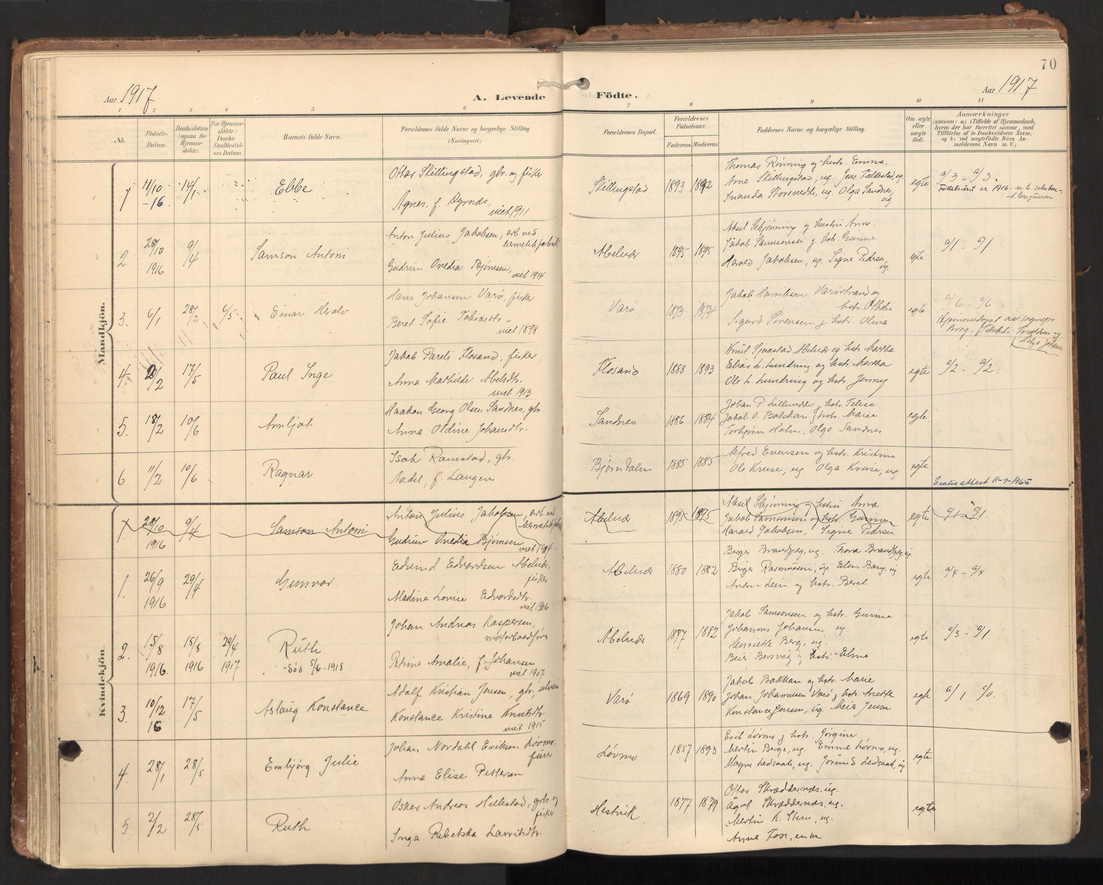 SAT, Ministerialprotokoller, klokkerbøker og fødselsregistre - Nord-Trøndelag, 784/L0677: Ministerialbok nr. 784A12, 1900-1920, s. 70
