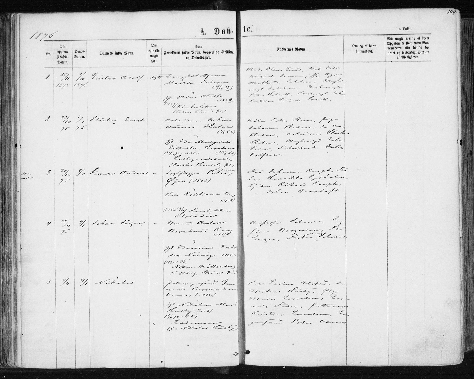 SAT, Ministerialprotokoller, klokkerbøker og fødselsregistre - Sør-Trøndelag, 604/L0186: Ministerialbok nr. 604A07, 1866-1877, s. 109