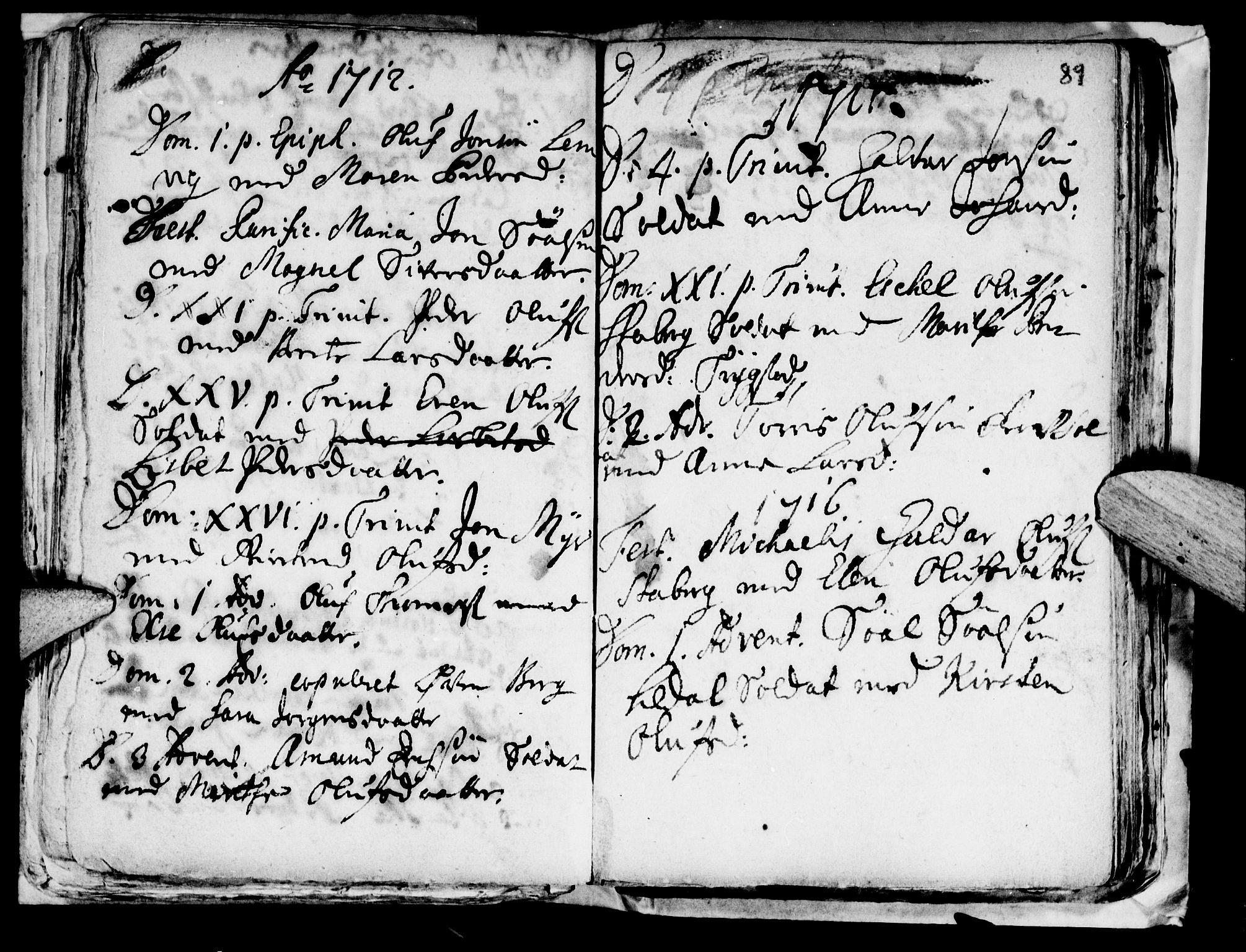 SAT, Ministerialprotokoller, klokkerbøker og fødselsregistre - Nord-Trøndelag, 722/L0214: Ministerialbok nr. 722A01, 1692-1718, s. 89