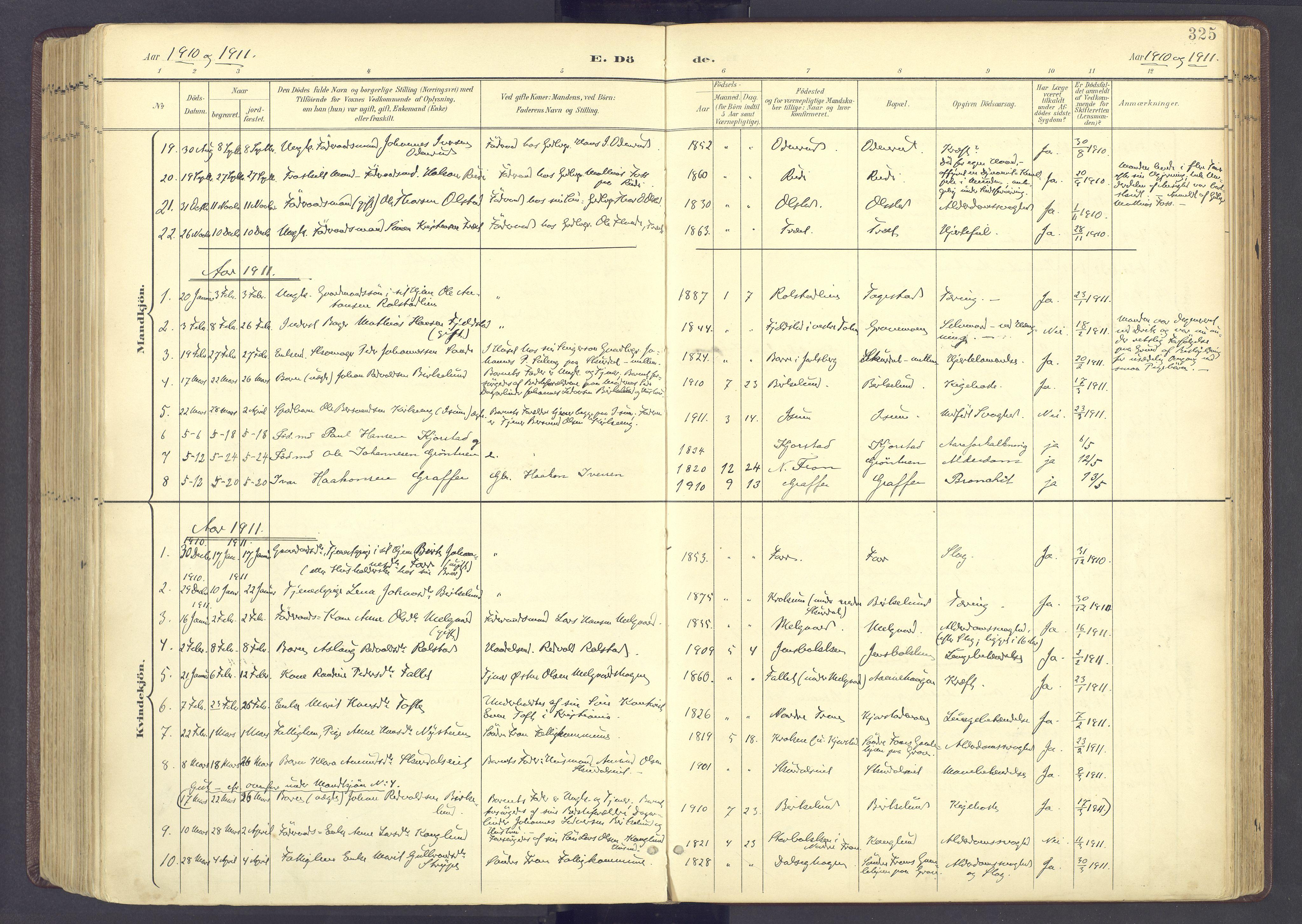 SAH, Sør-Fron prestekontor, H/Ha/Haa/L0004: Ministerialbok nr. 4, 1898-1919, s. 325