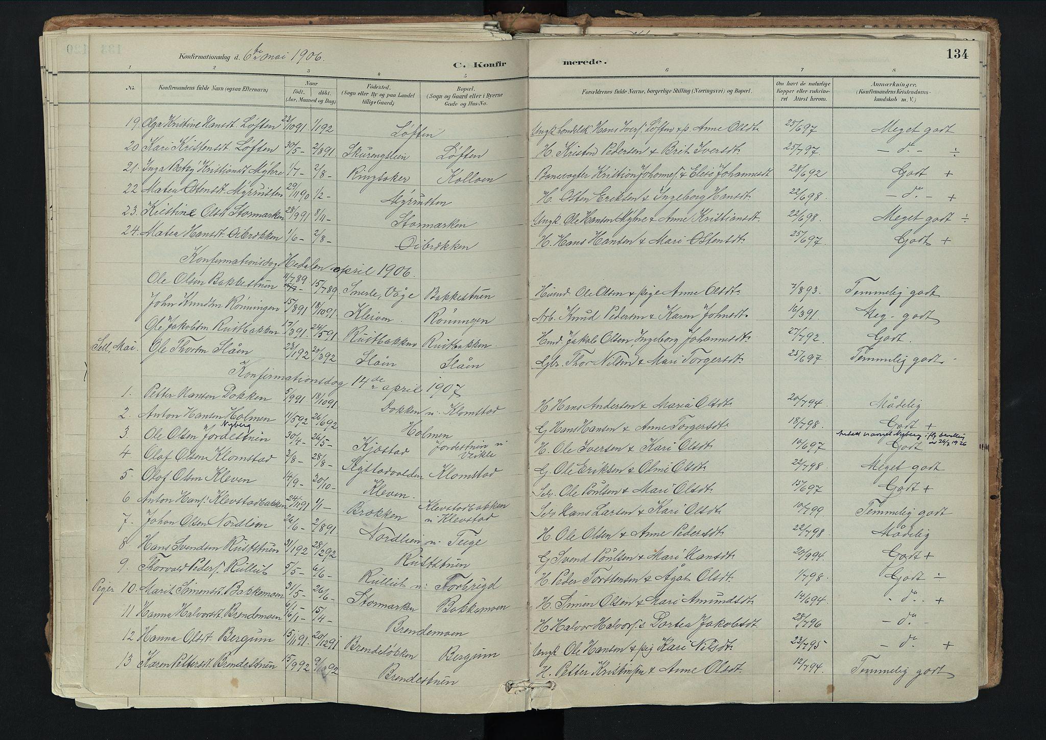 SAH, Nord-Fron prestekontor, Ministerialbok nr. 3, 1884-1914, s. 134