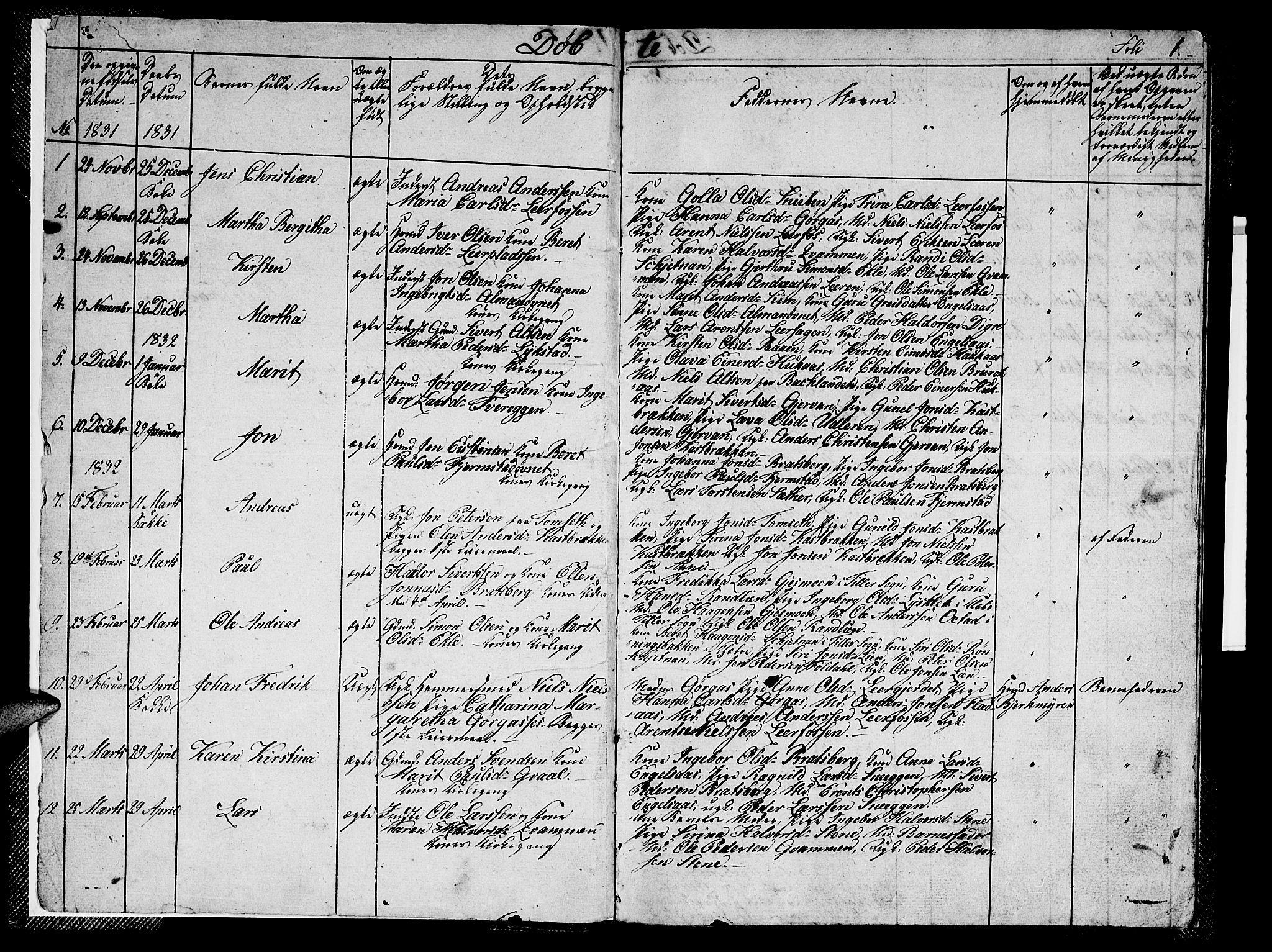 SAT, Ministerialprotokoller, klokkerbøker og fødselsregistre - Sør-Trøndelag, 608/L0338: Klokkerbok nr. 608C04, 1831-1843, s. 1
