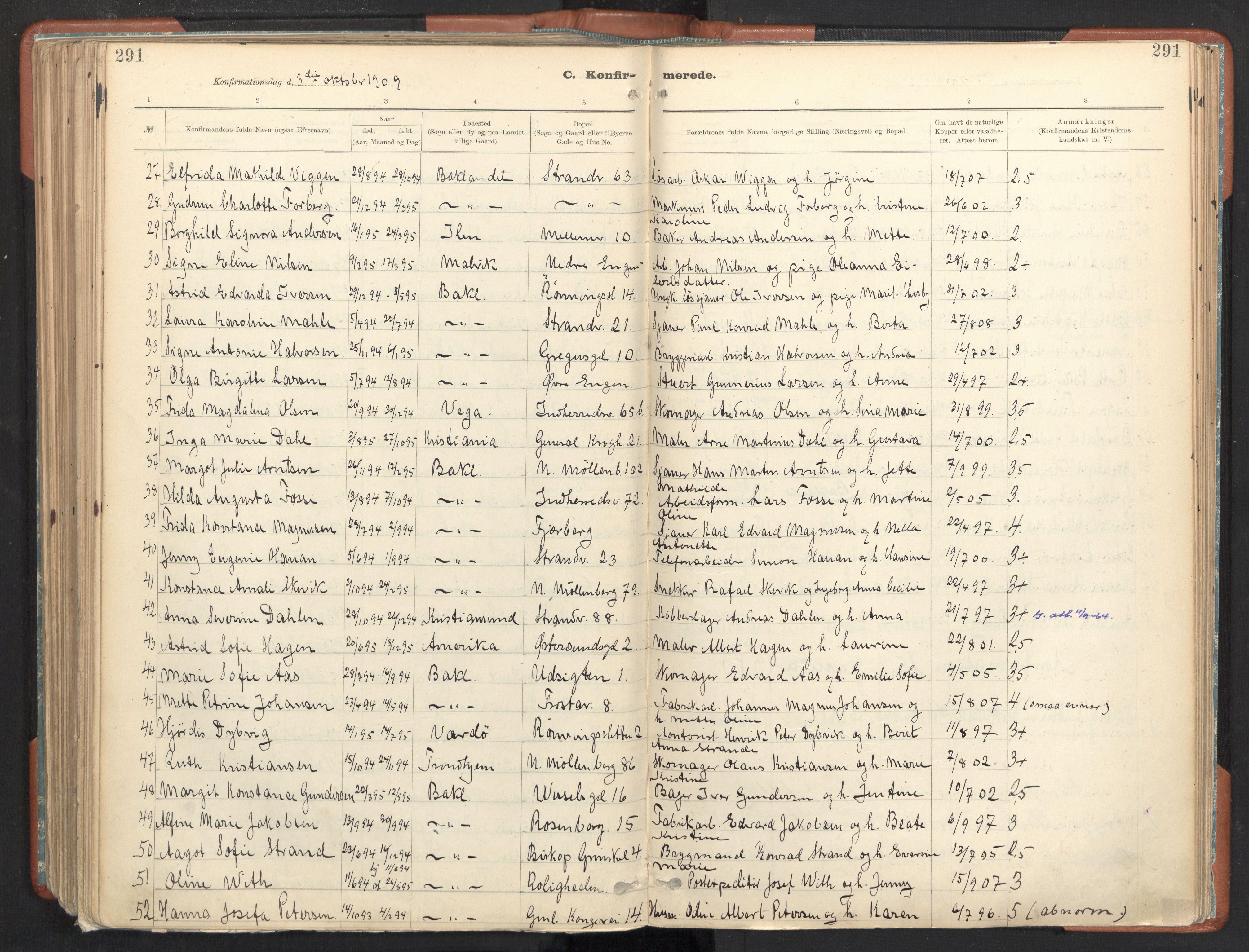 SAT, Ministerialprotokoller, klokkerbøker og fødselsregistre - Sør-Trøndelag, 605/L0243: Ministerialbok nr. 605A05, 1908-1923, s. 291