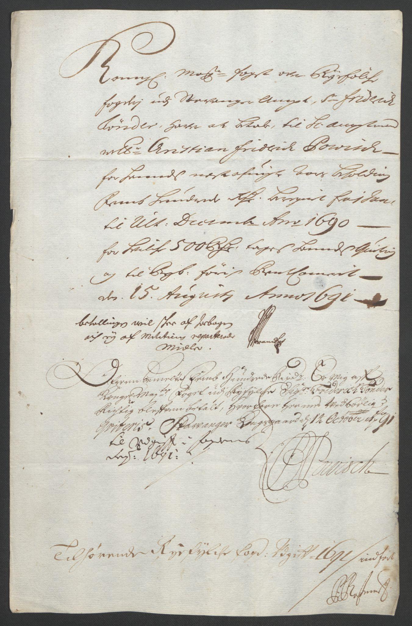 RA, Rentekammeret inntil 1814, Reviderte regnskaper, Fogderegnskap, R47/L2856: Fogderegnskap Ryfylke, 1689-1693, s. 384